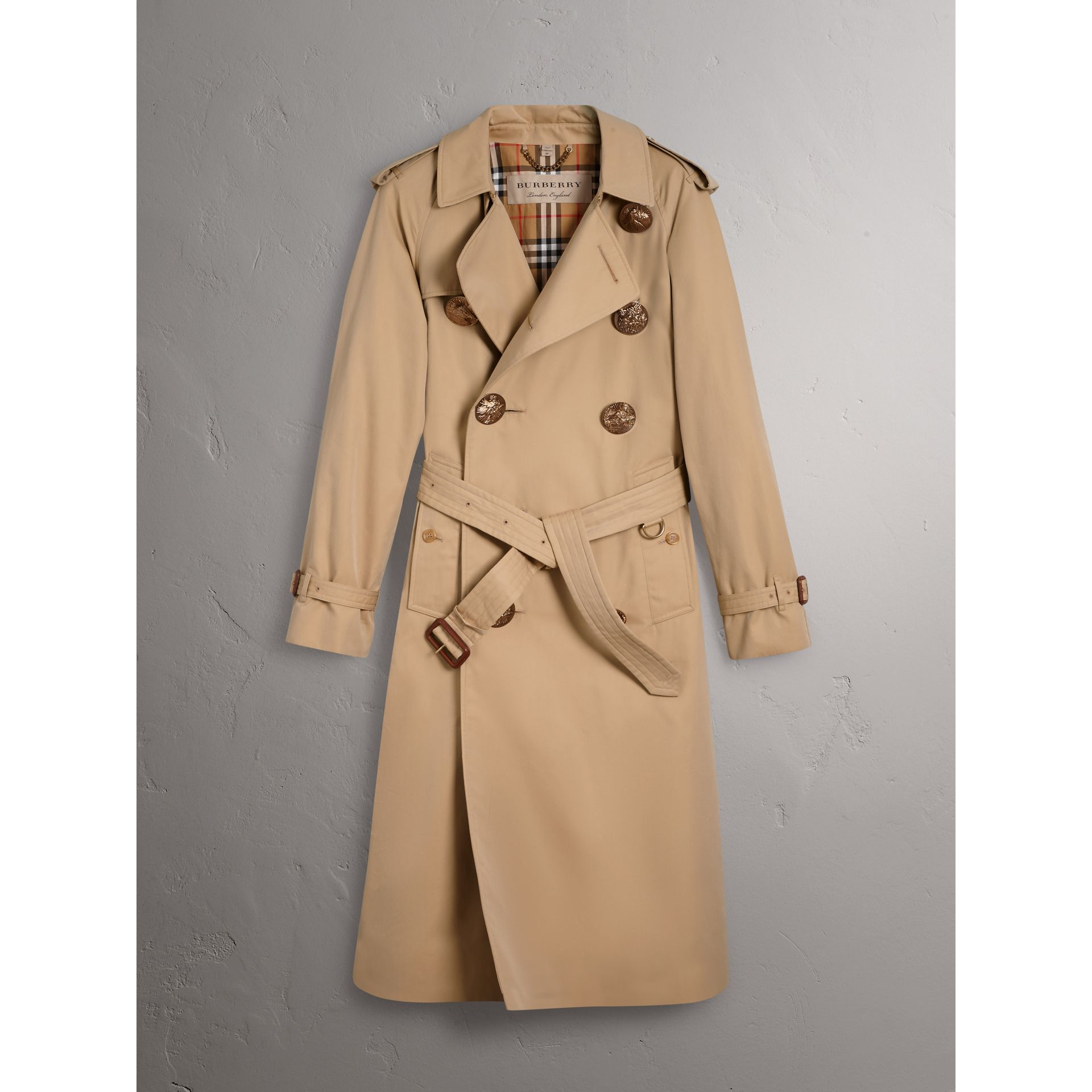 Burberry Honey Bird Button Cotton Gabardine Trench Coat
