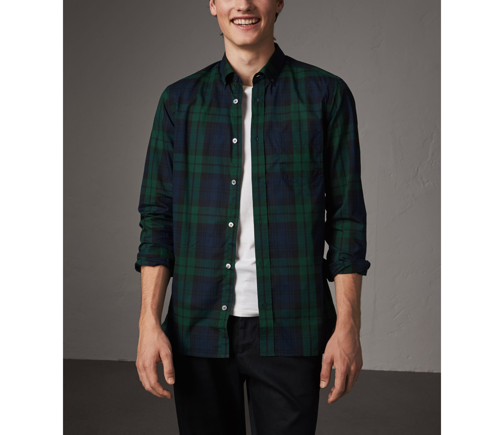 Burberry Navy Check Cotton Shirt