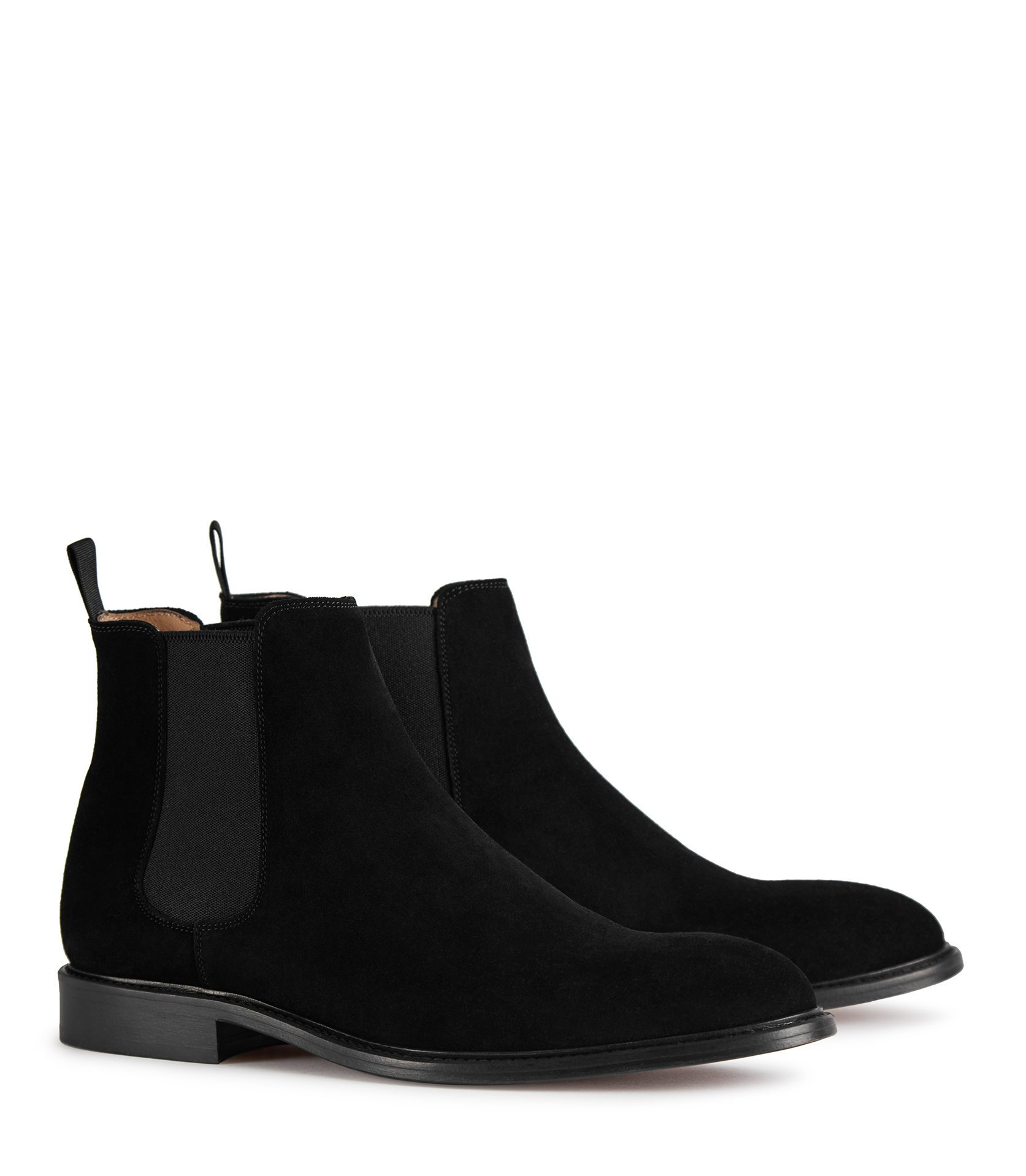 Reiss Black Suede Chelsea Boots