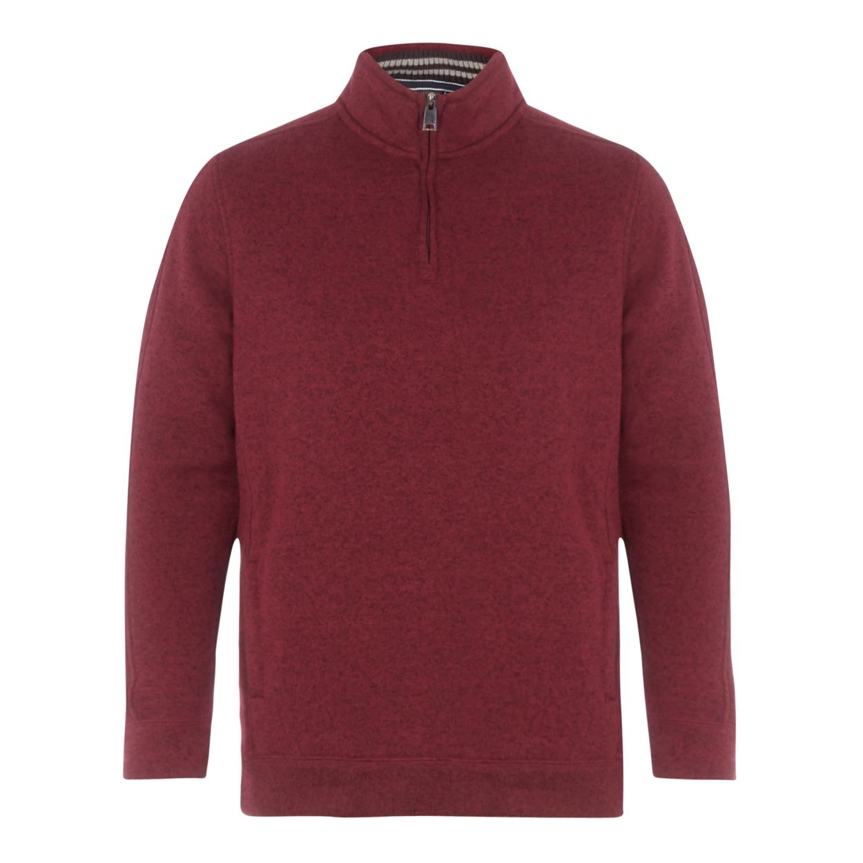 Maine New England Red knit-look zip neck jumper