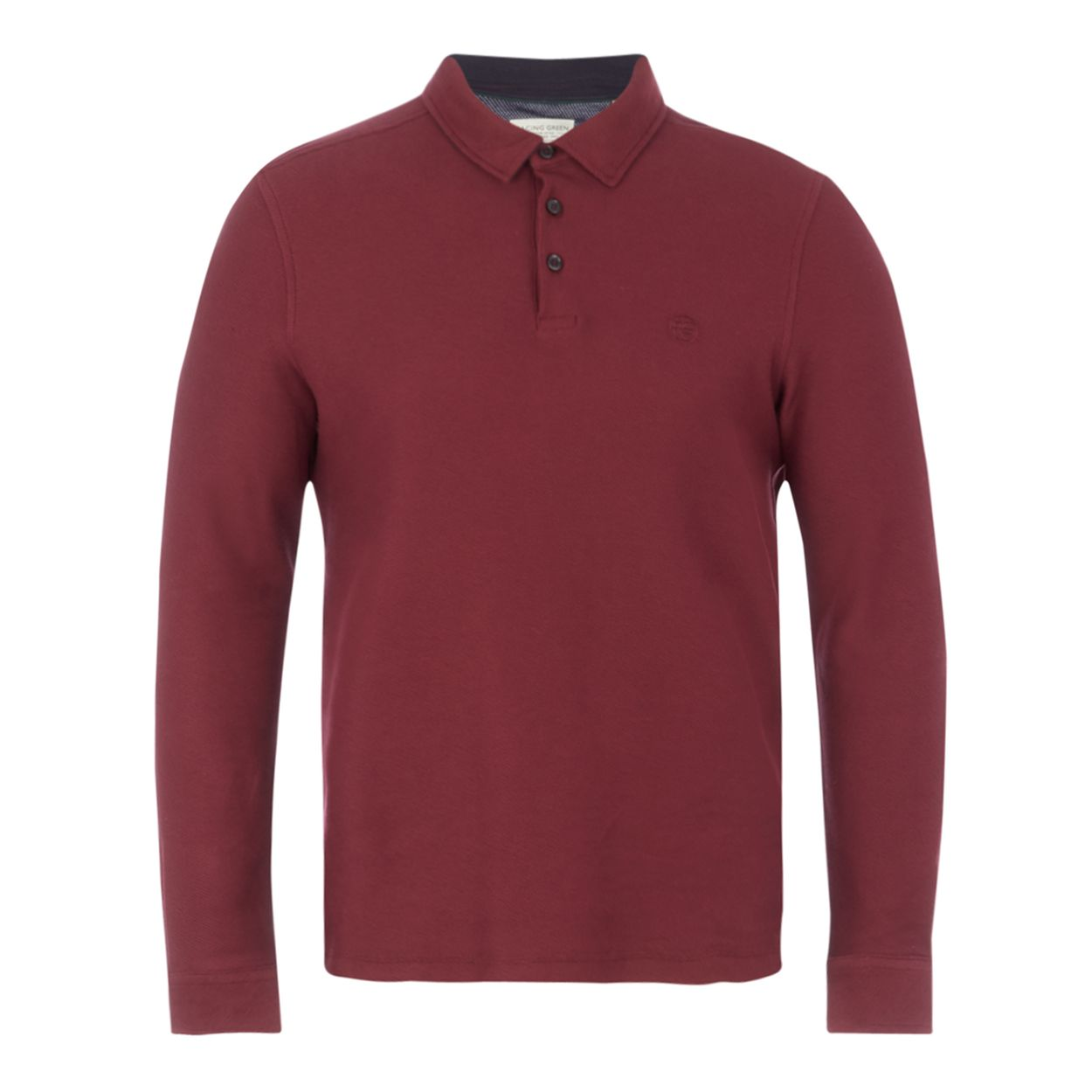 Racing Green Dark red twill long sleeve polo shirt