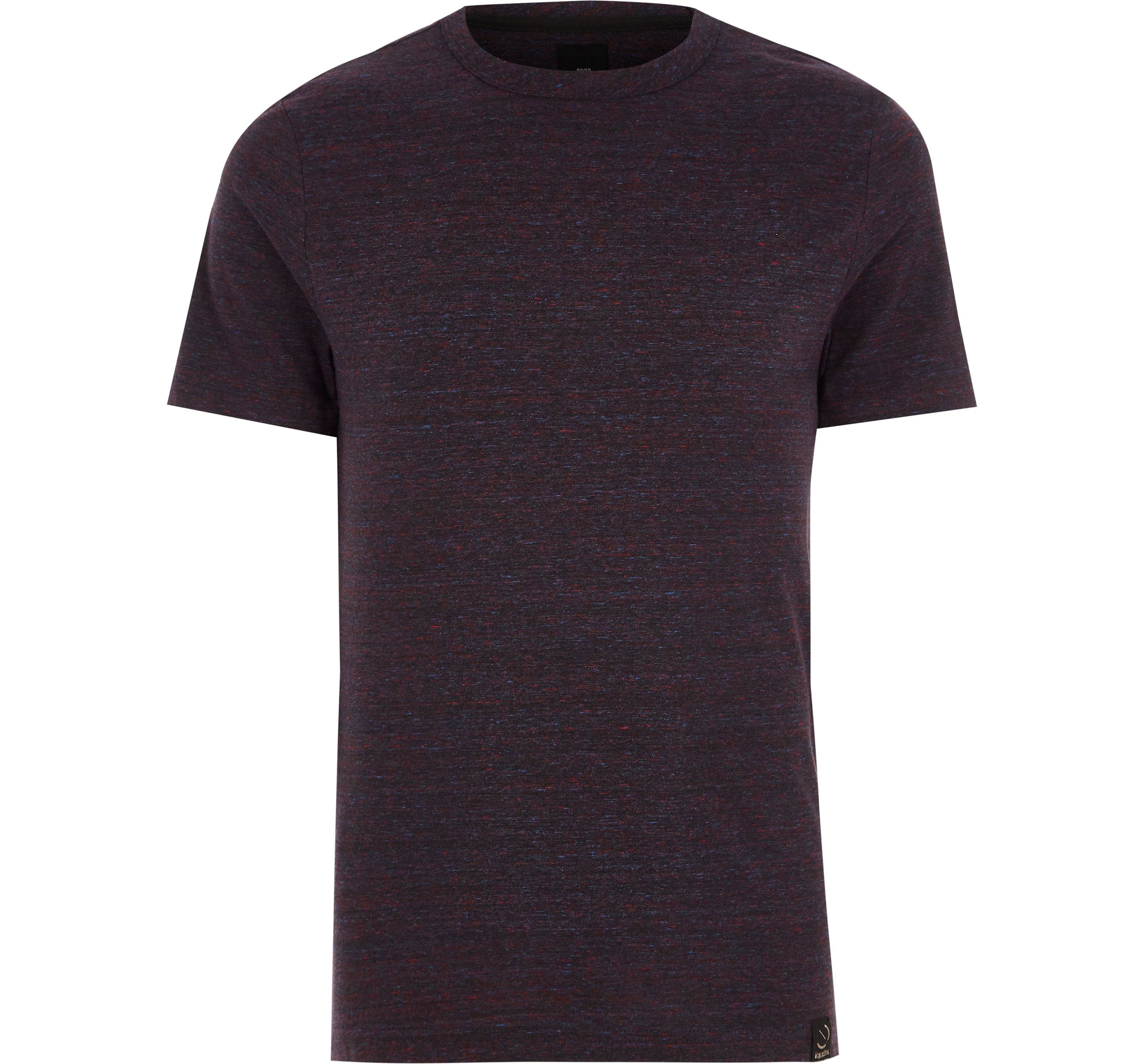 River Island Mens Big and Tall dark Red crew neck T-shirt