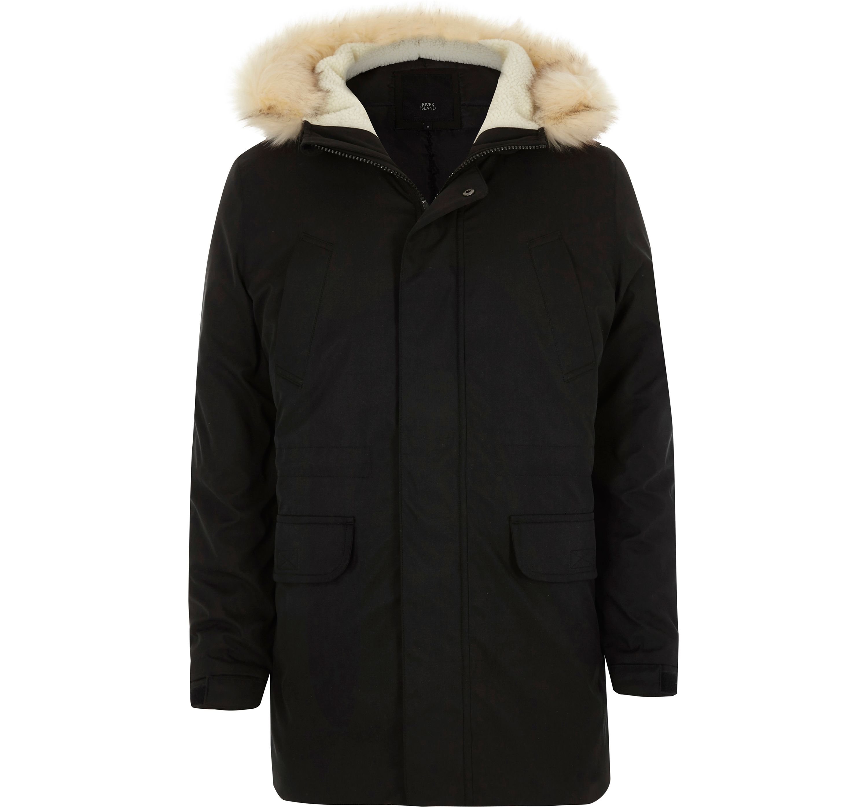 River Island Mens Black faux fur trim hooded parka