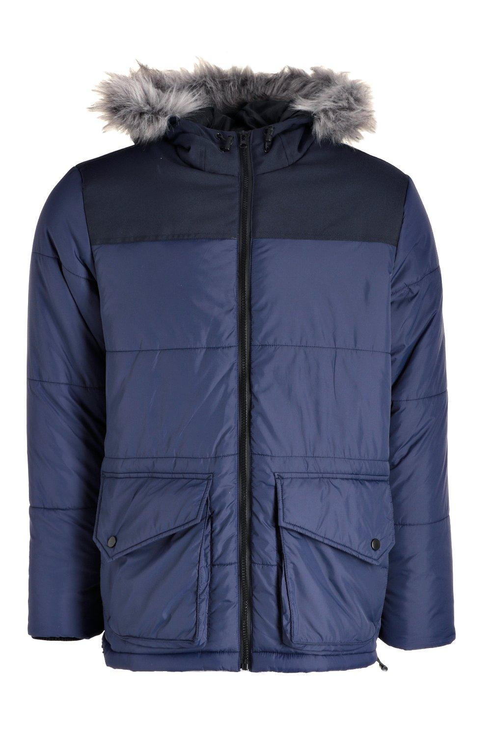 boohooMAN navy Zip Through Hooded Padded Parka