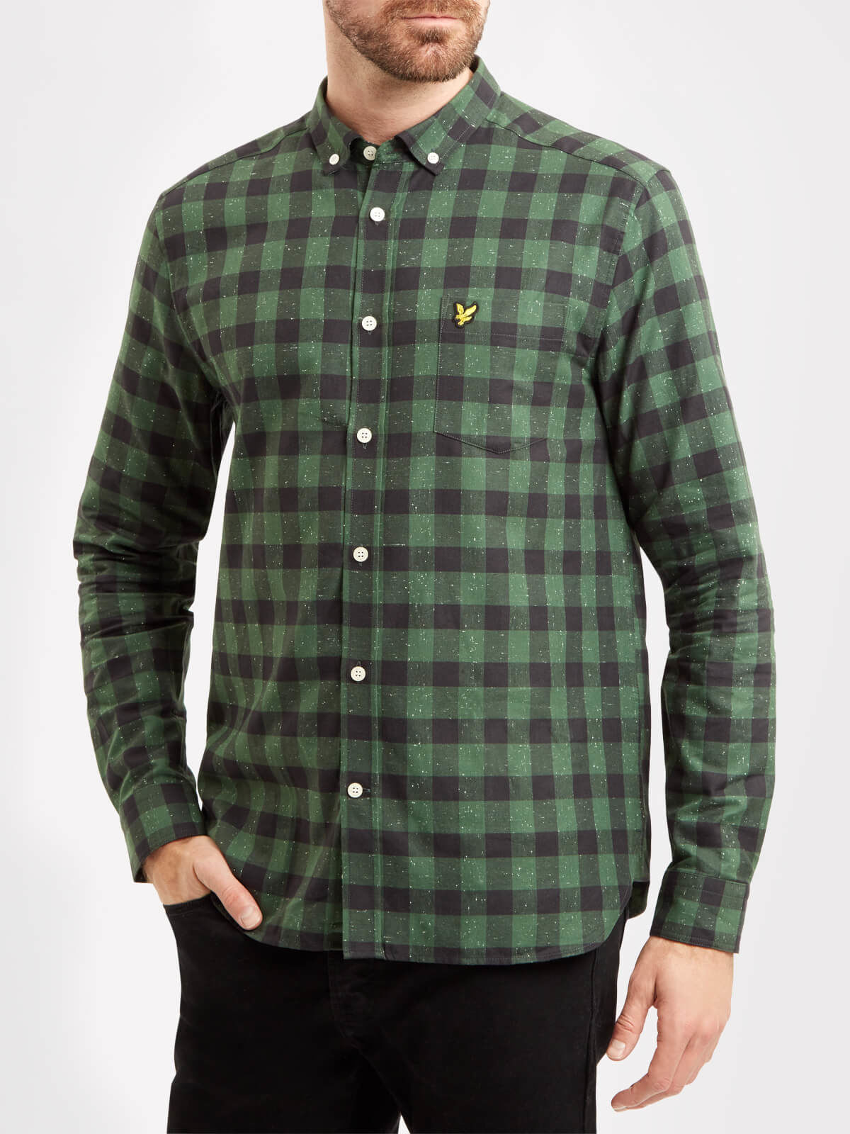 Lyle and Scott Leaf Green Flecked Check Shirt