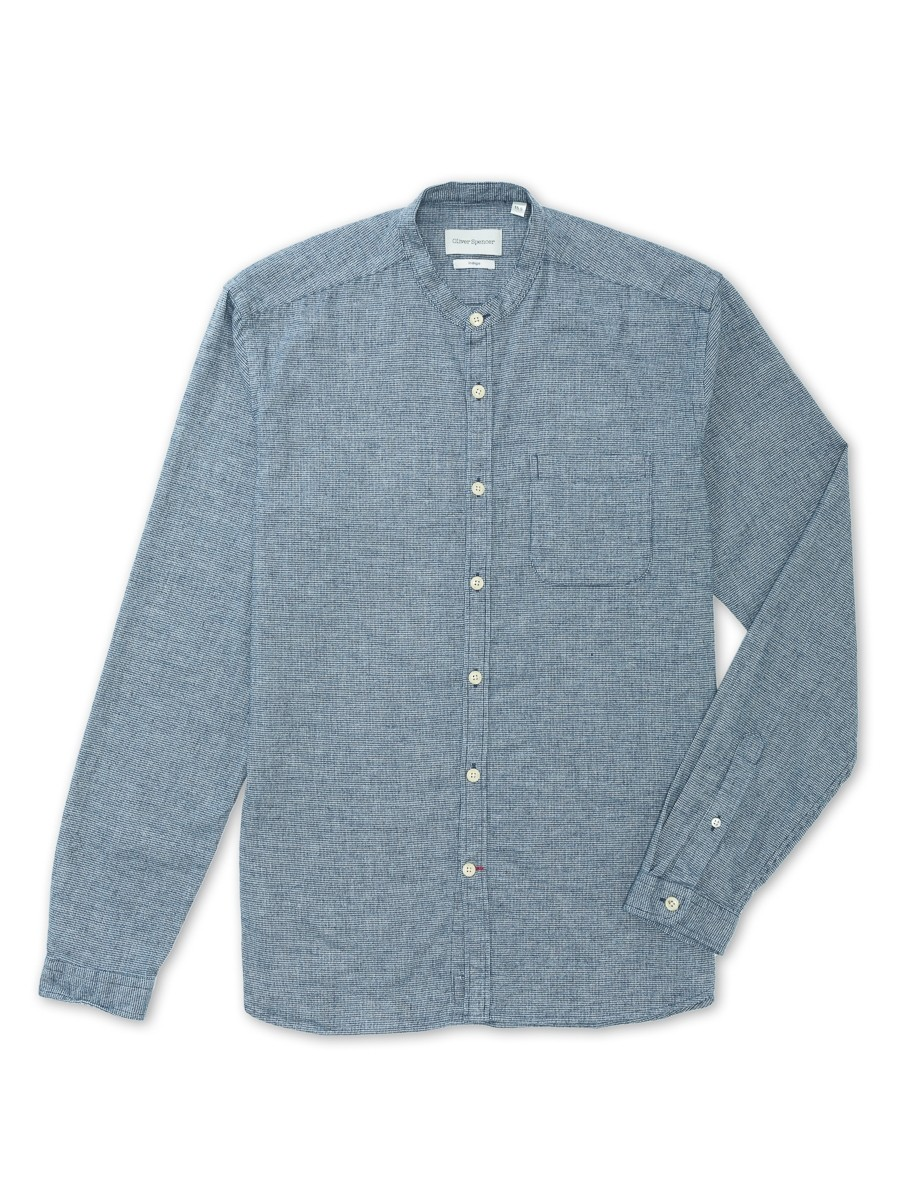 Oliver Spencer Grandad Shirt Houghton Indigo