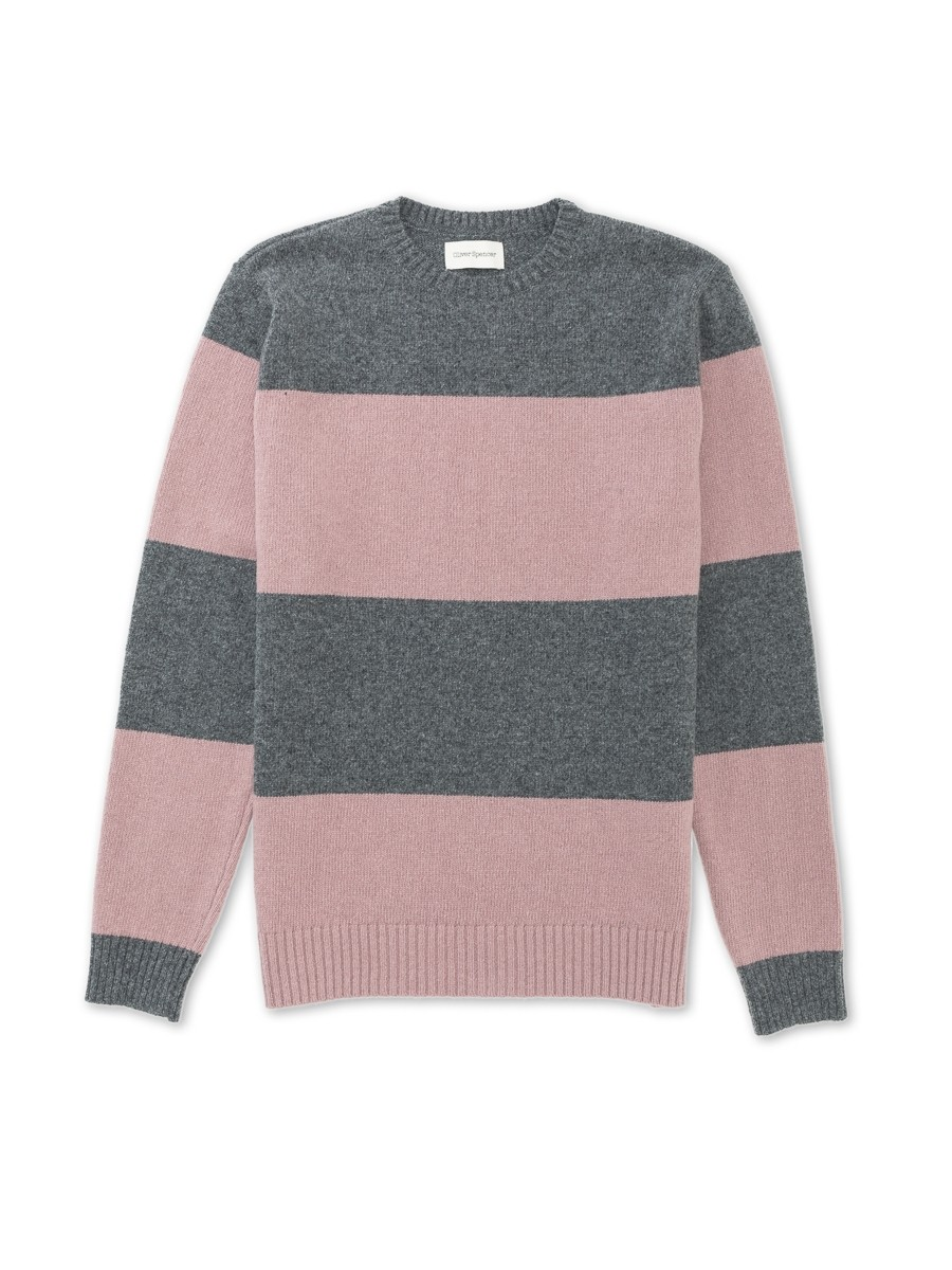 Oliver Spencer Blenheim Crew Oxley Grey/Pink