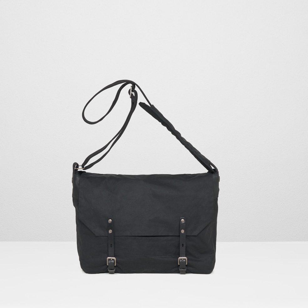 Ally Capellino black Jeremy Waxed Cotton Satchel In Black