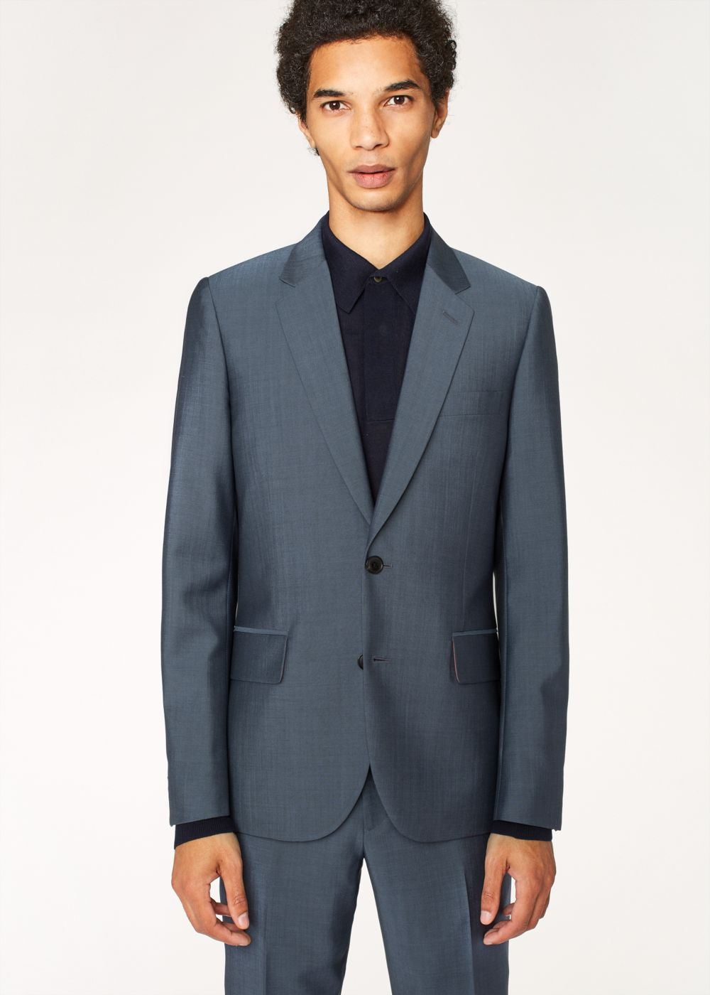 Paul Smith The Soho - Men's Tailored-Fit Slate Blue Wool-Mohair Suit