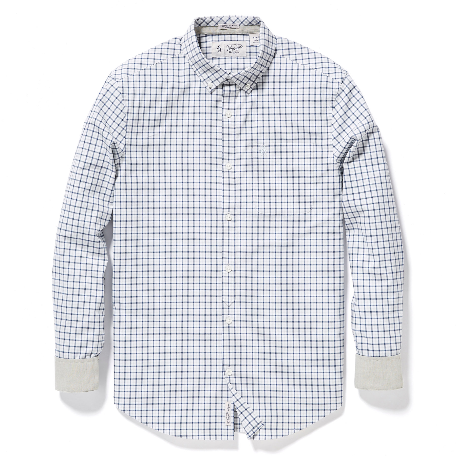 Original Penguin Bright White Stretch core gingham long sleeve shirt