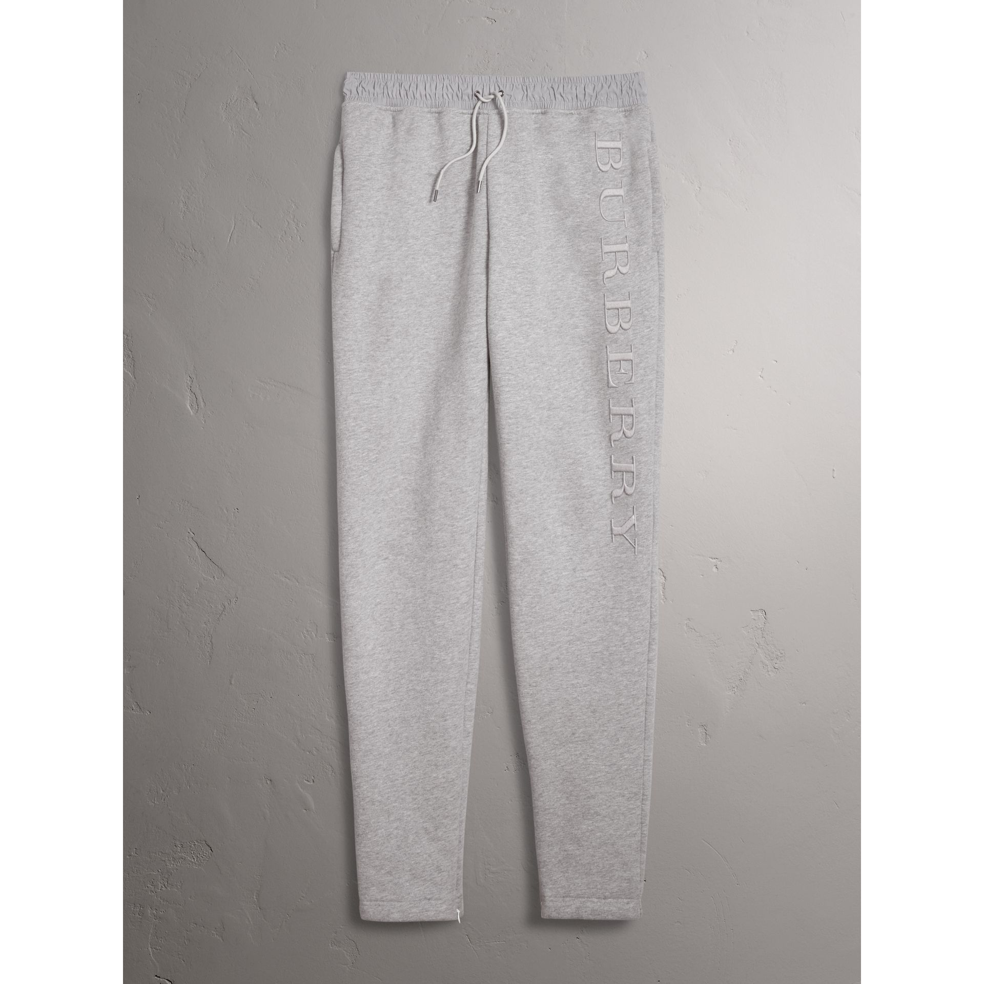 Burberry Pale Grey Melange Embroidered Jersey Sweatpants