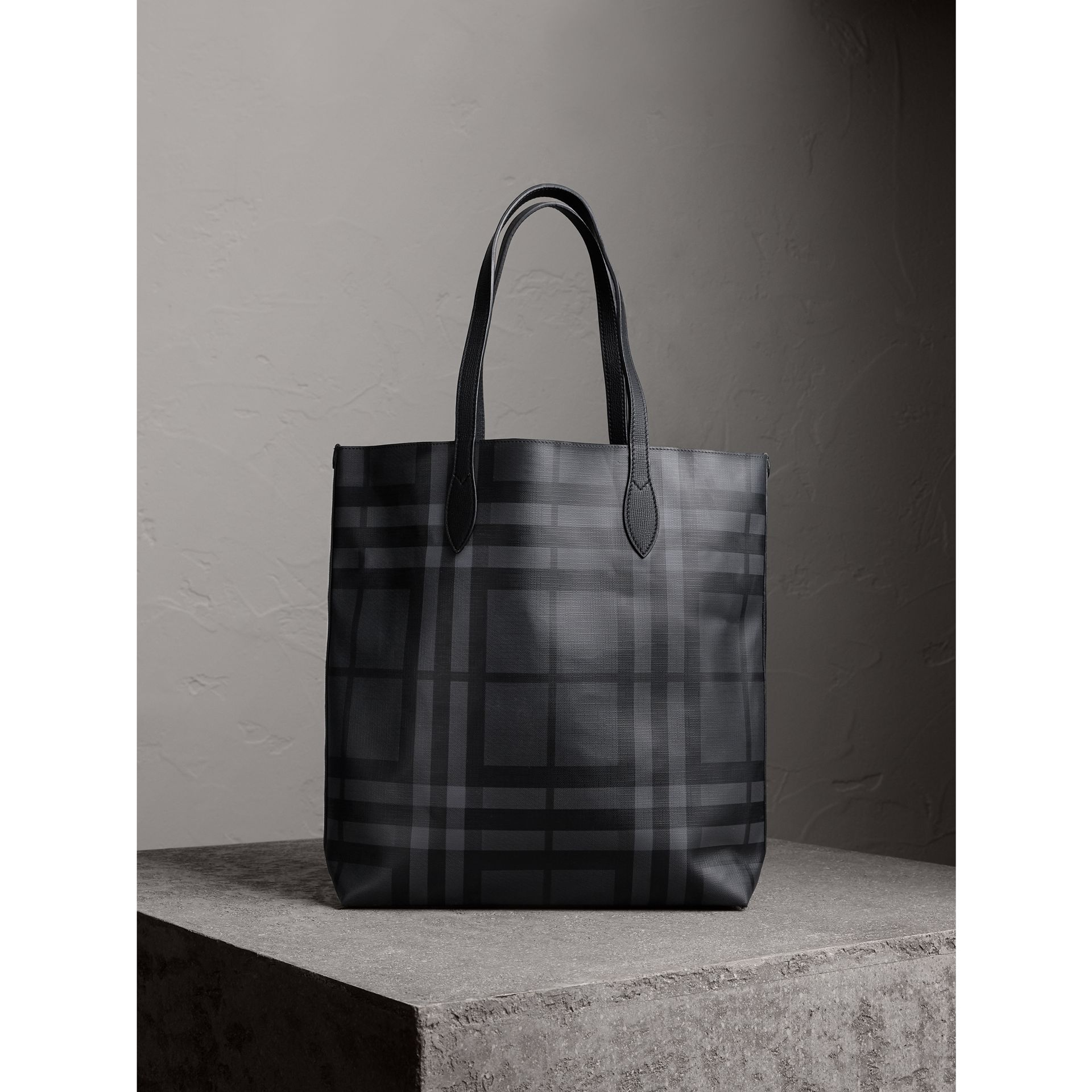 Burberry Charcoal/Black Medium London Check and Leather Tote