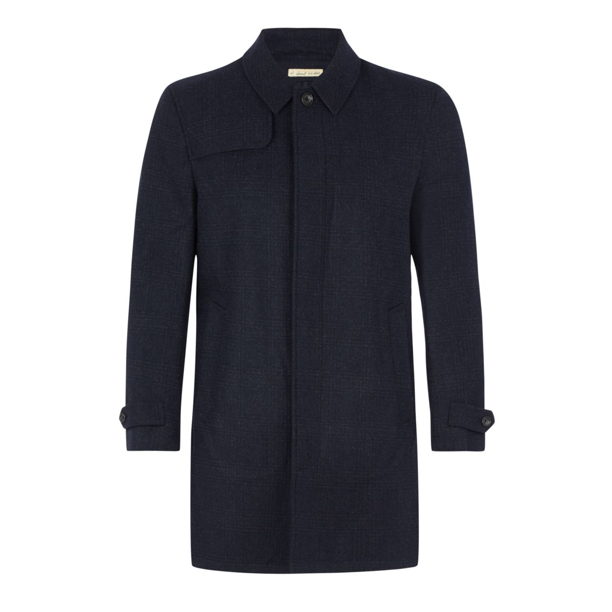 Hammond & Co. by Patrick Grant Navy checked wool blend mac coat