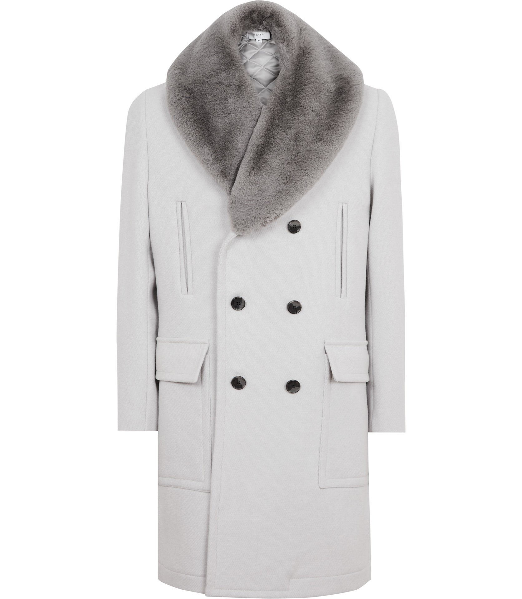 Reiss Tusk Cavalry Faux Fur Collar Coat