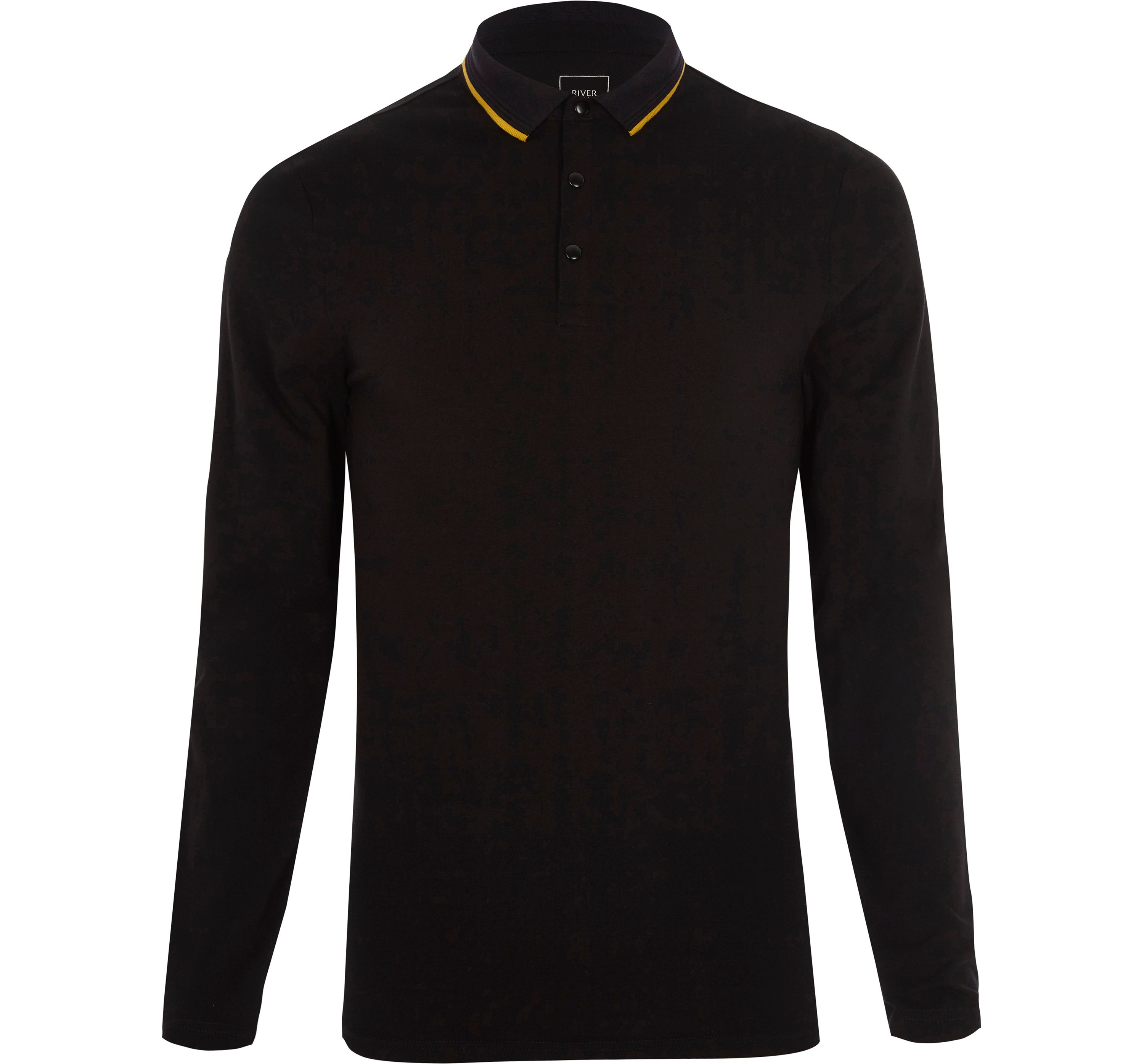 River Island Mens Black muscle fit tipped collar polo shirt