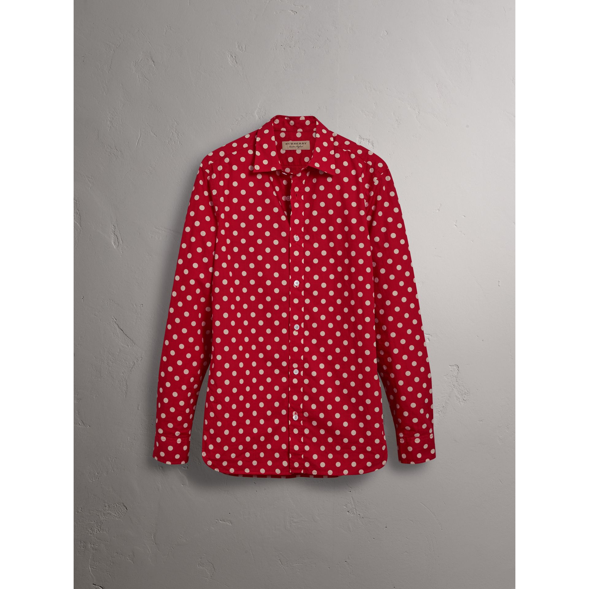 Burberry Bright Orange Red Polka-dot Cotton Flannel Shirt