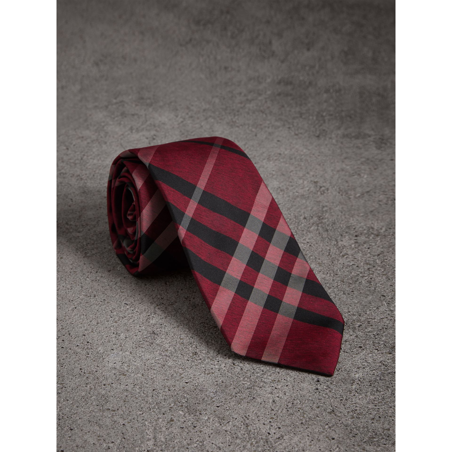 Burberry Crimson Red Modern Cut Check Silk Tie