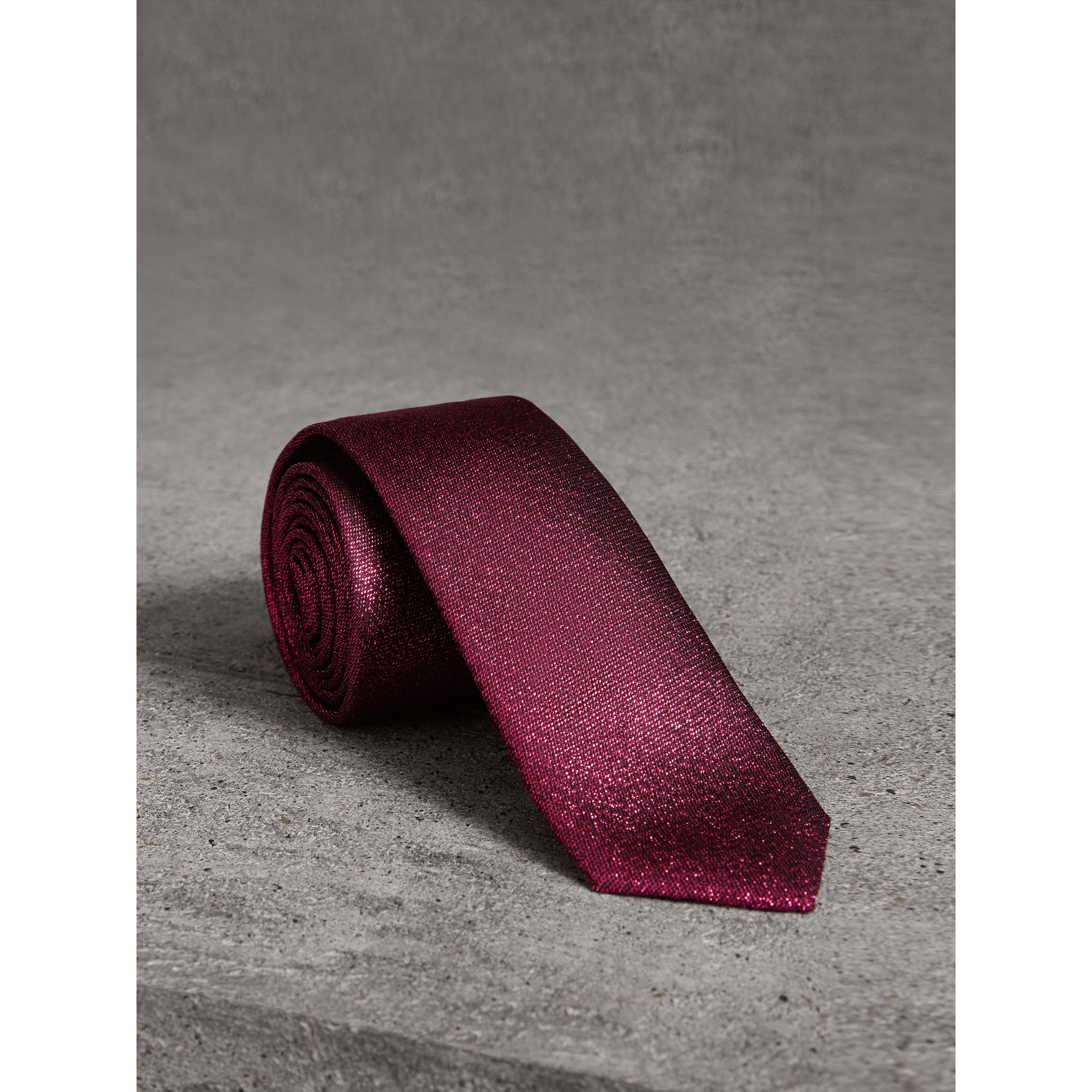 Burberry Bright Fuschia Slim Cut Metallic Silk Blend Tie