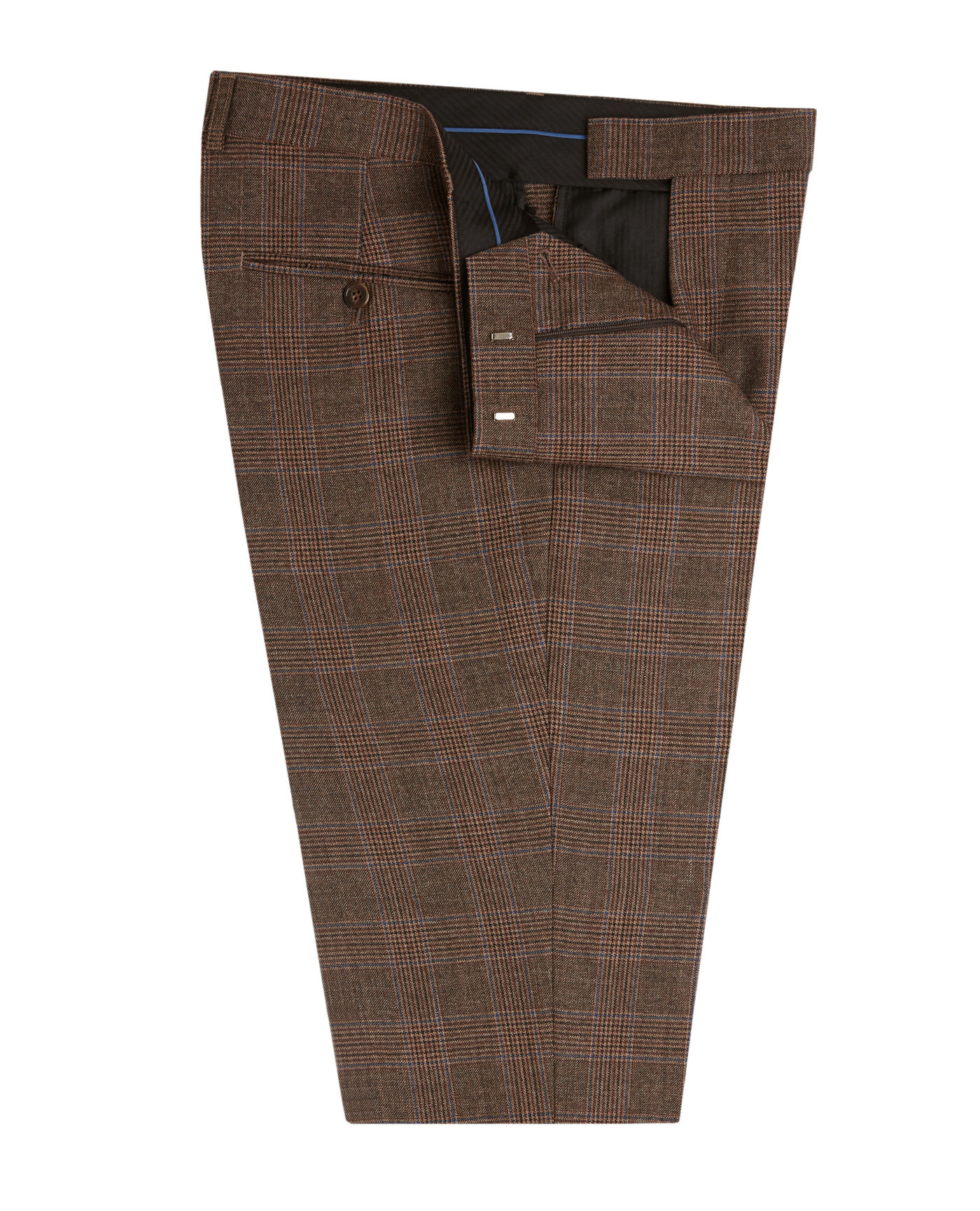 T.M.Lewin Lennon Slim Fit Suit Trousers in Taupe and Blue Check Wool