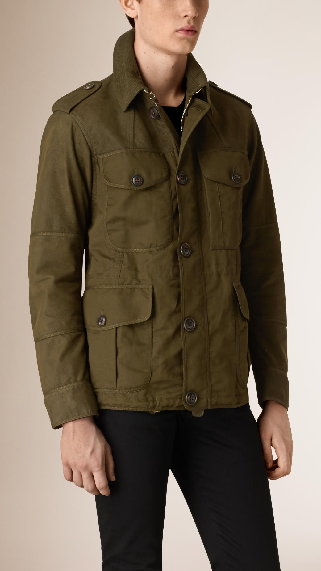 Nubuck and Cotton Linen Field Jacket by ...