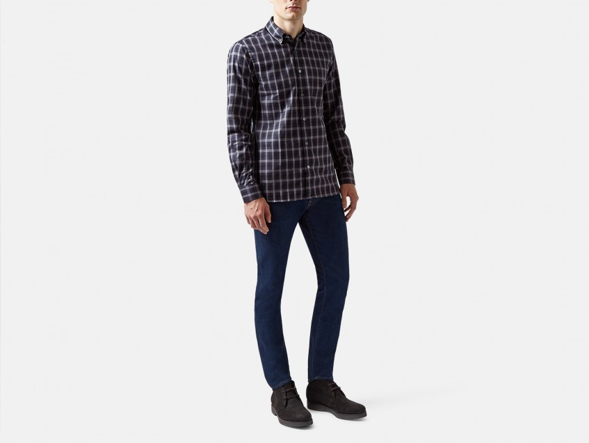 Aquascutum Blue Harley Club Check Long Sleeve Shirt