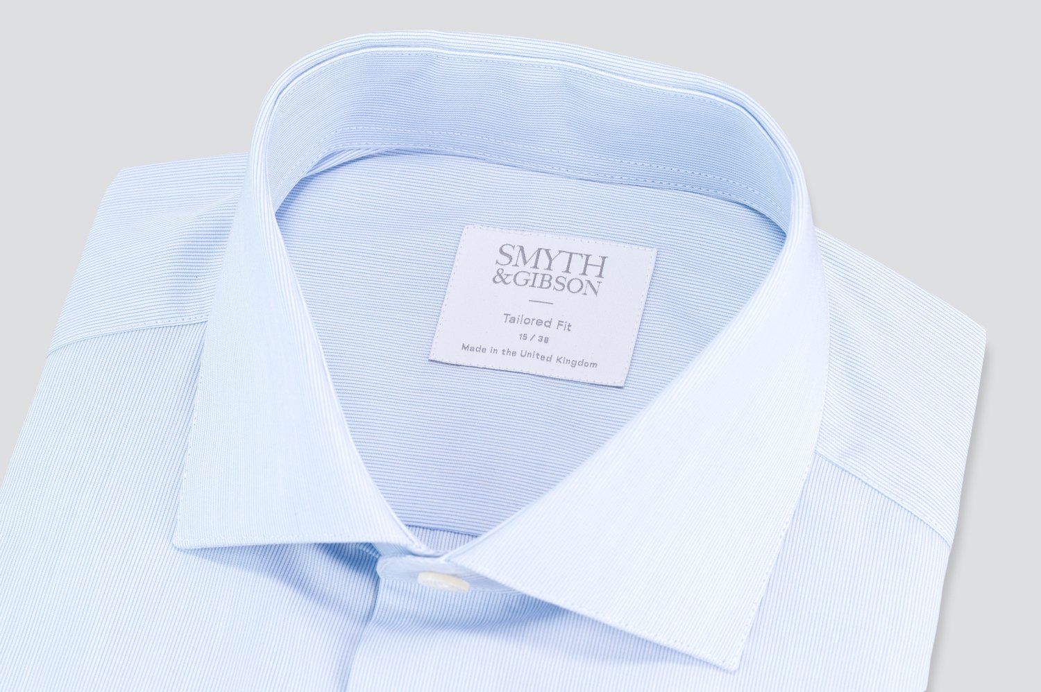Smyth & Gibson 120 Thread Count Fine Stripe Tailored Fit Shirt in Sky Blue