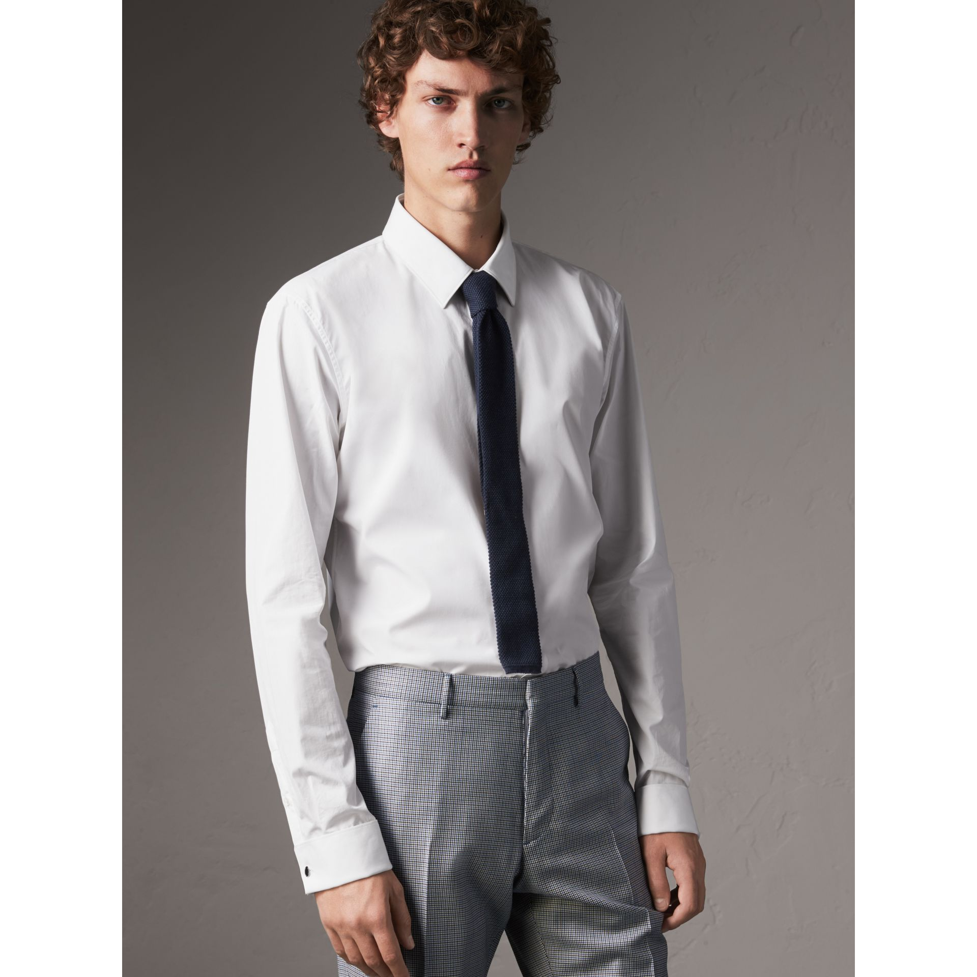 Burberry White Slim Fit Double-cuff Cotton Poplin Shirt