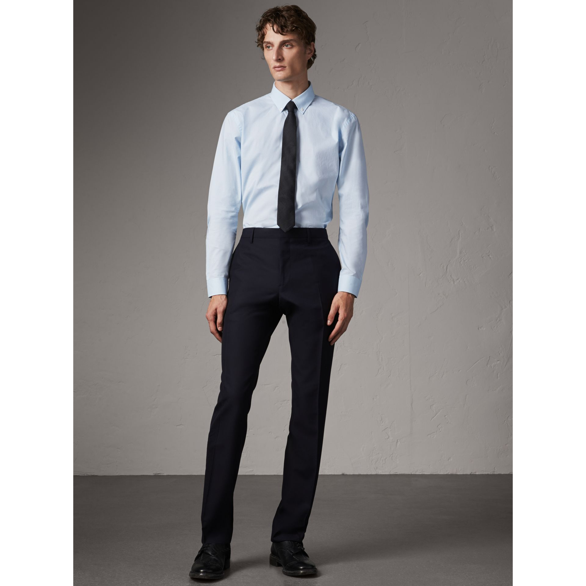 Burberry Navy Modern Fit Wool Trousers