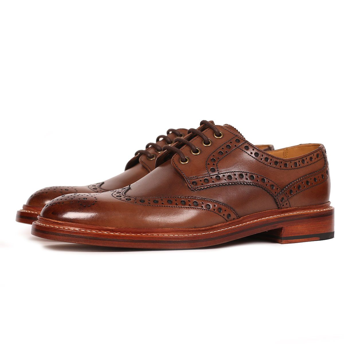 Oliver Sweeney Saunders Dark Tan - Calf Leather Derby Brogue