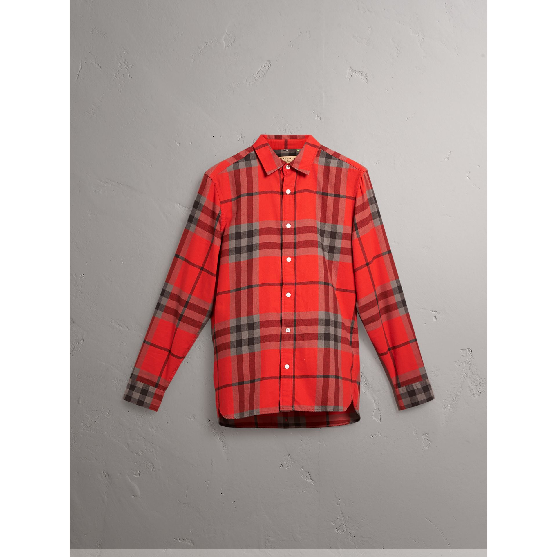 Burberry Bright Red Check Cotton Flannel Shirt