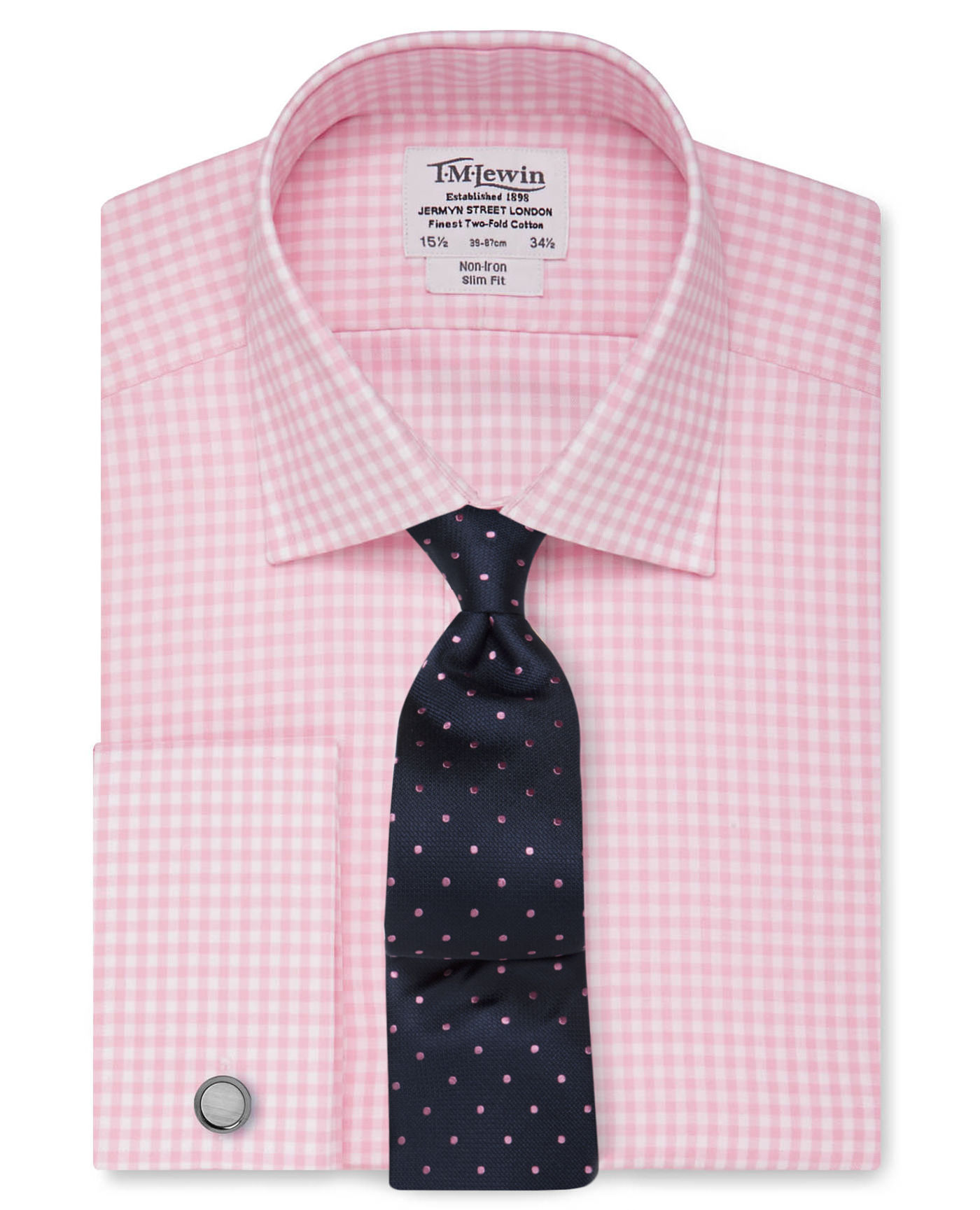 T.M.Lewin Non-Iron Light Pink Gingham Slim Fit Shirt
