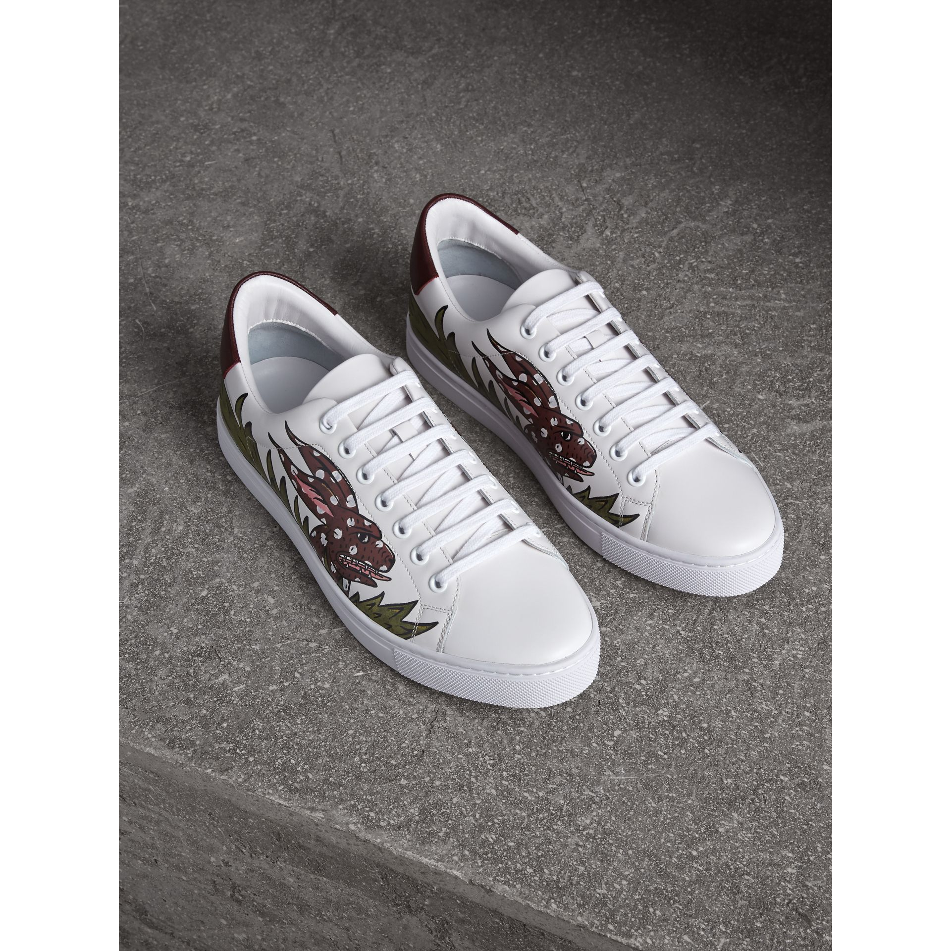 Beasts Print Leather Trainers by