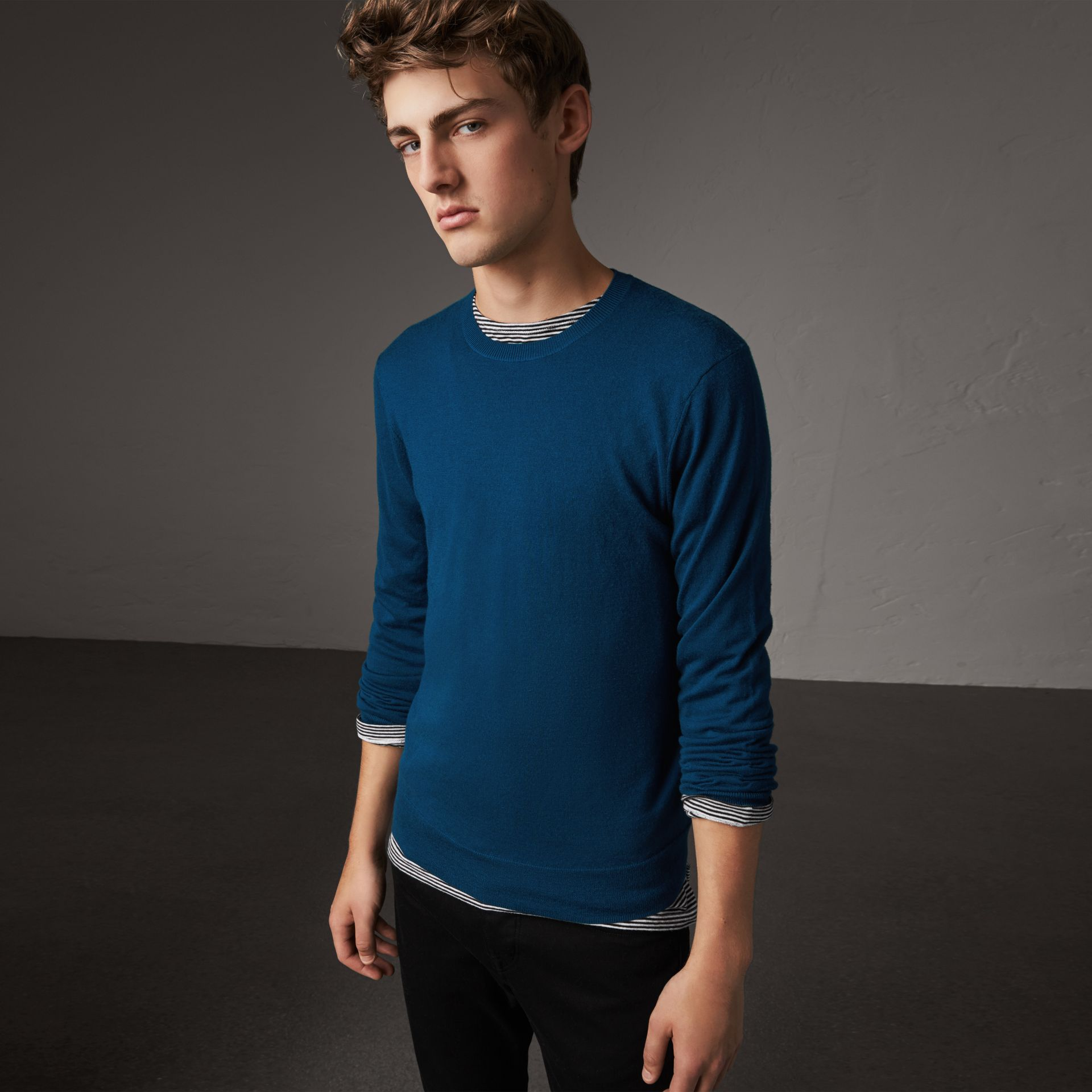 Burberry Dark Teal Check Jacquard Detail Cashmere Sweater