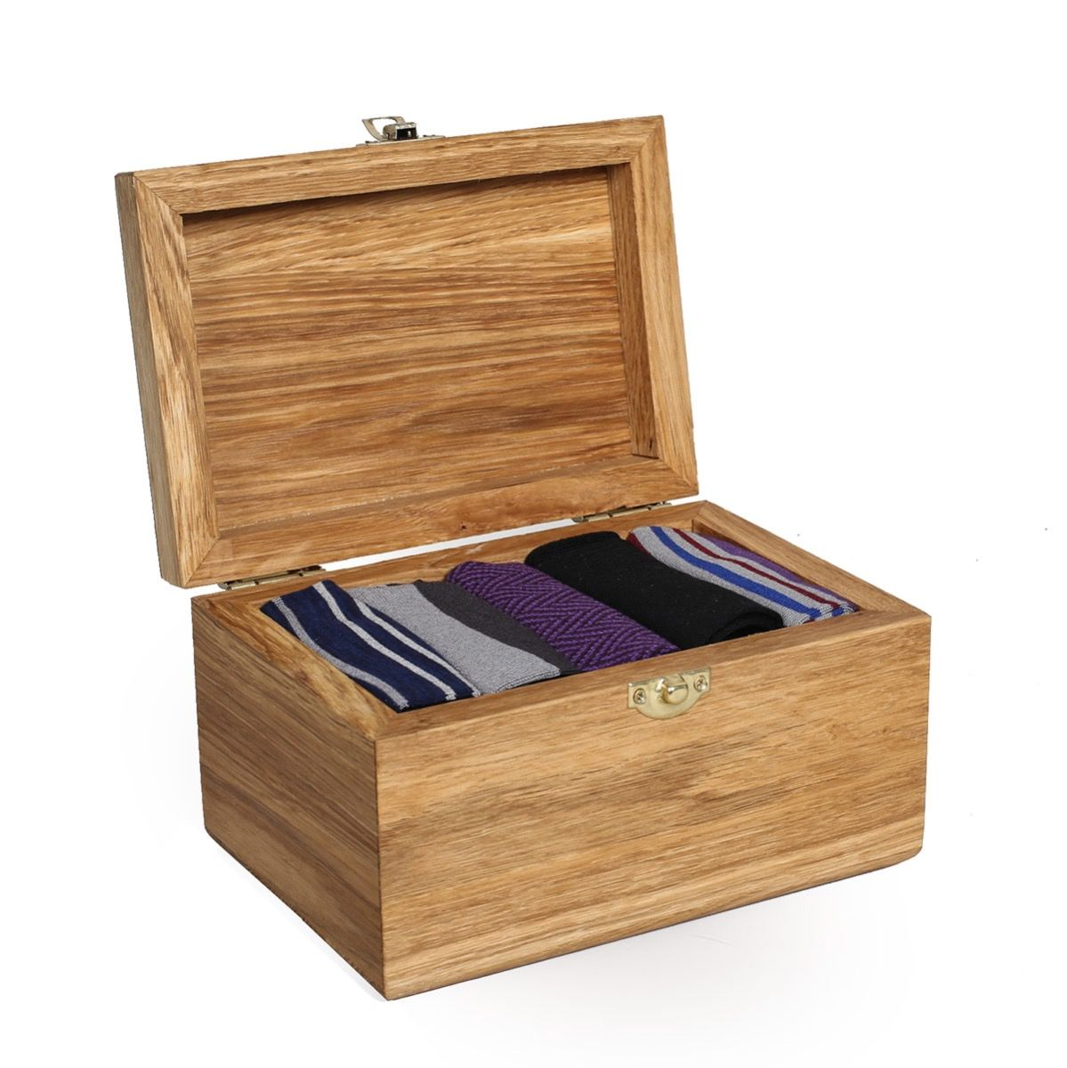 Oliver Sweeney Solid Oak Sock Box - Luxury Wooden Socks Box Filled with 5 Pairs of Socks