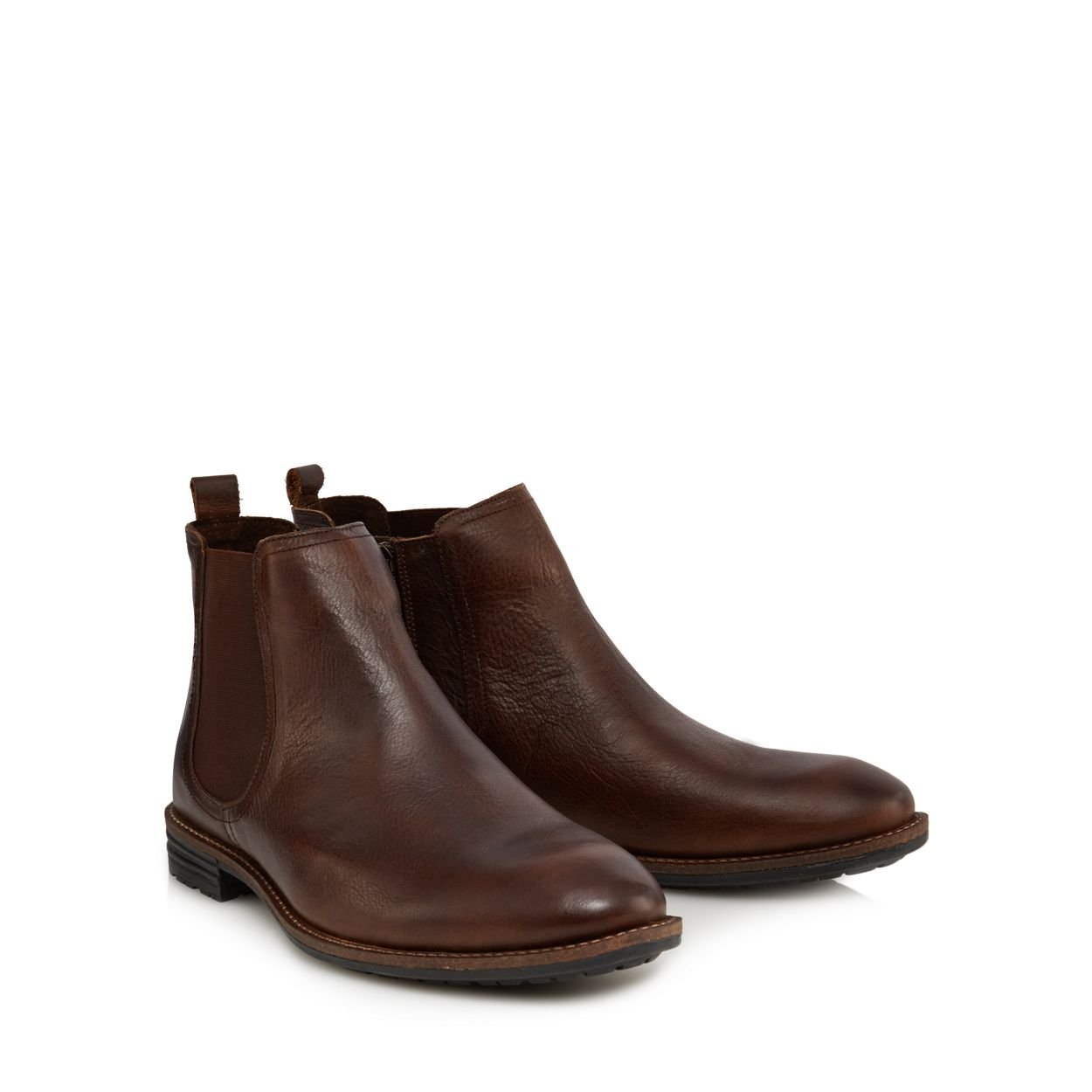 Mantaray Dark brown leather 'Kiev' Chelsea boots