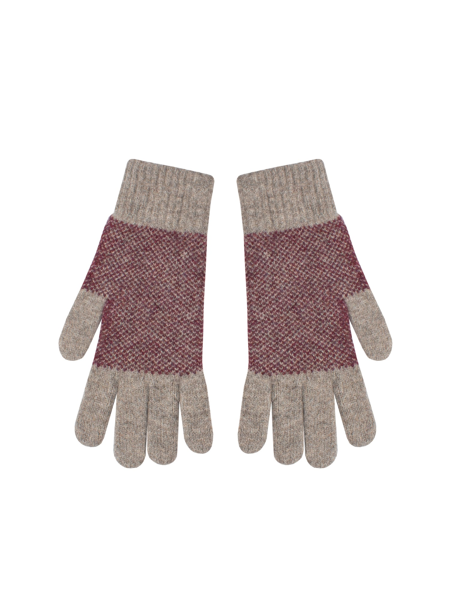 Ben Sherman Rust Panelled Knitted Gloves