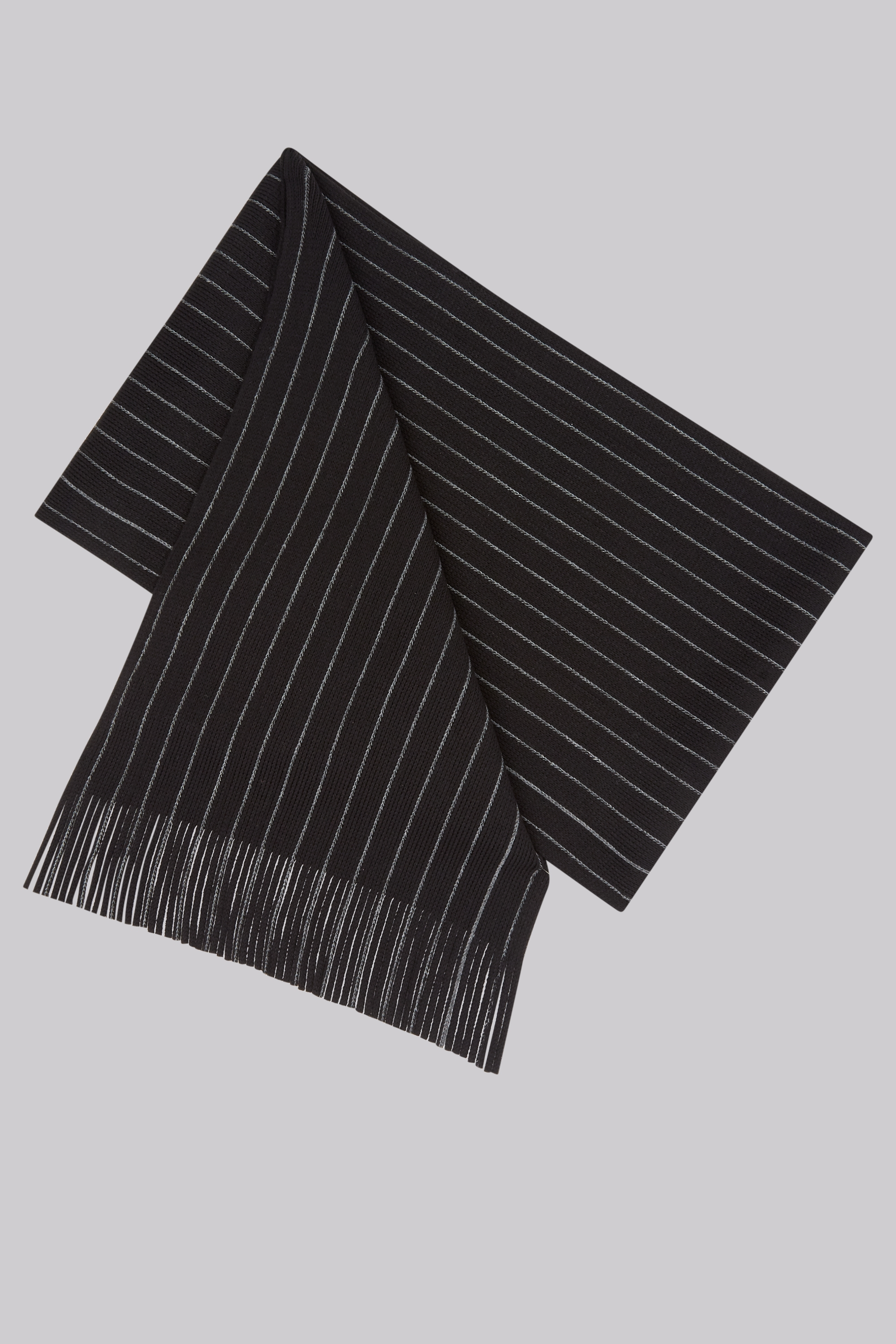 Moss Bros Moss 1851 Black Knitted Stripe Scarf