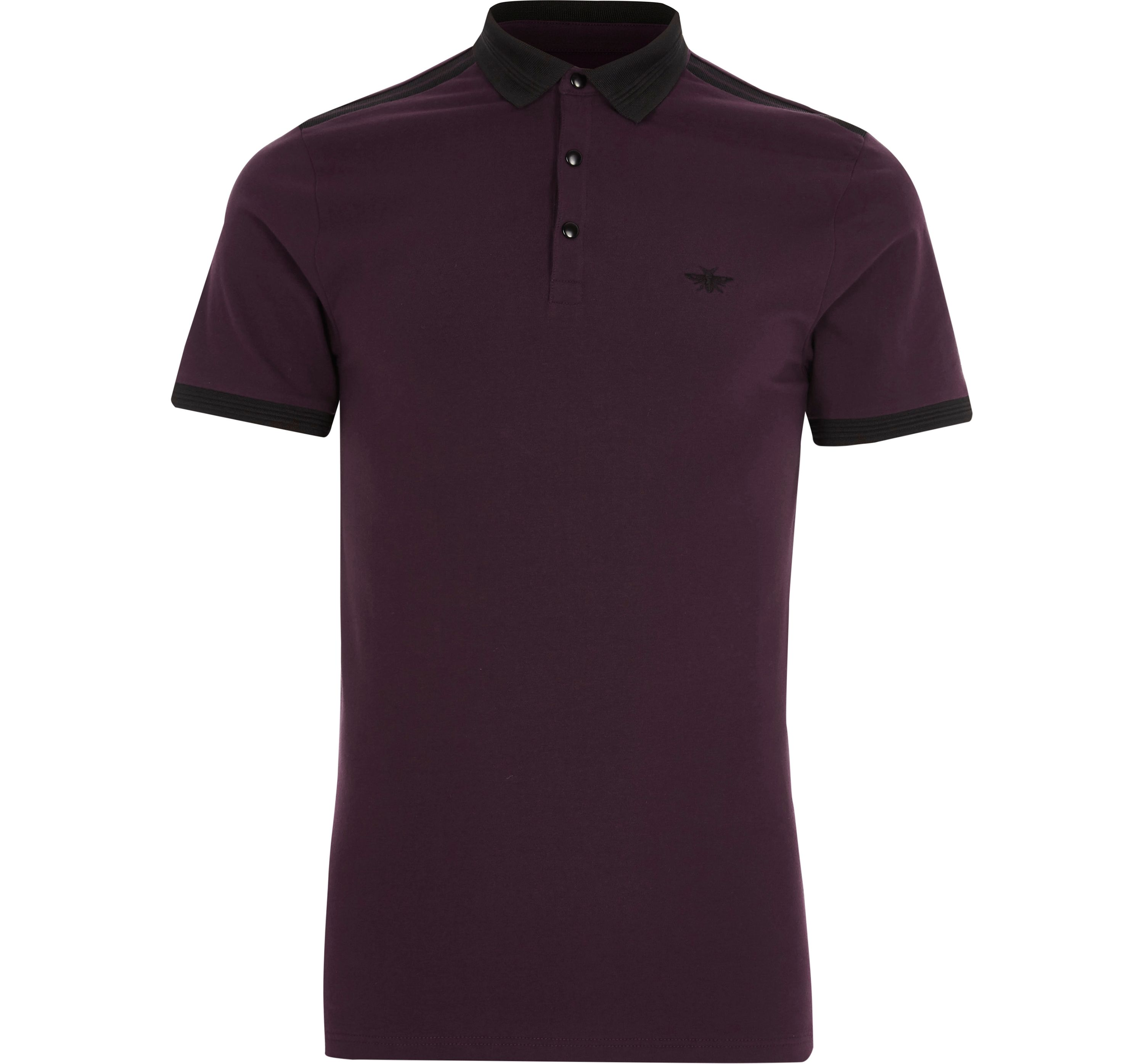 River Island Mens Dark Red muscle fit polo shirt
