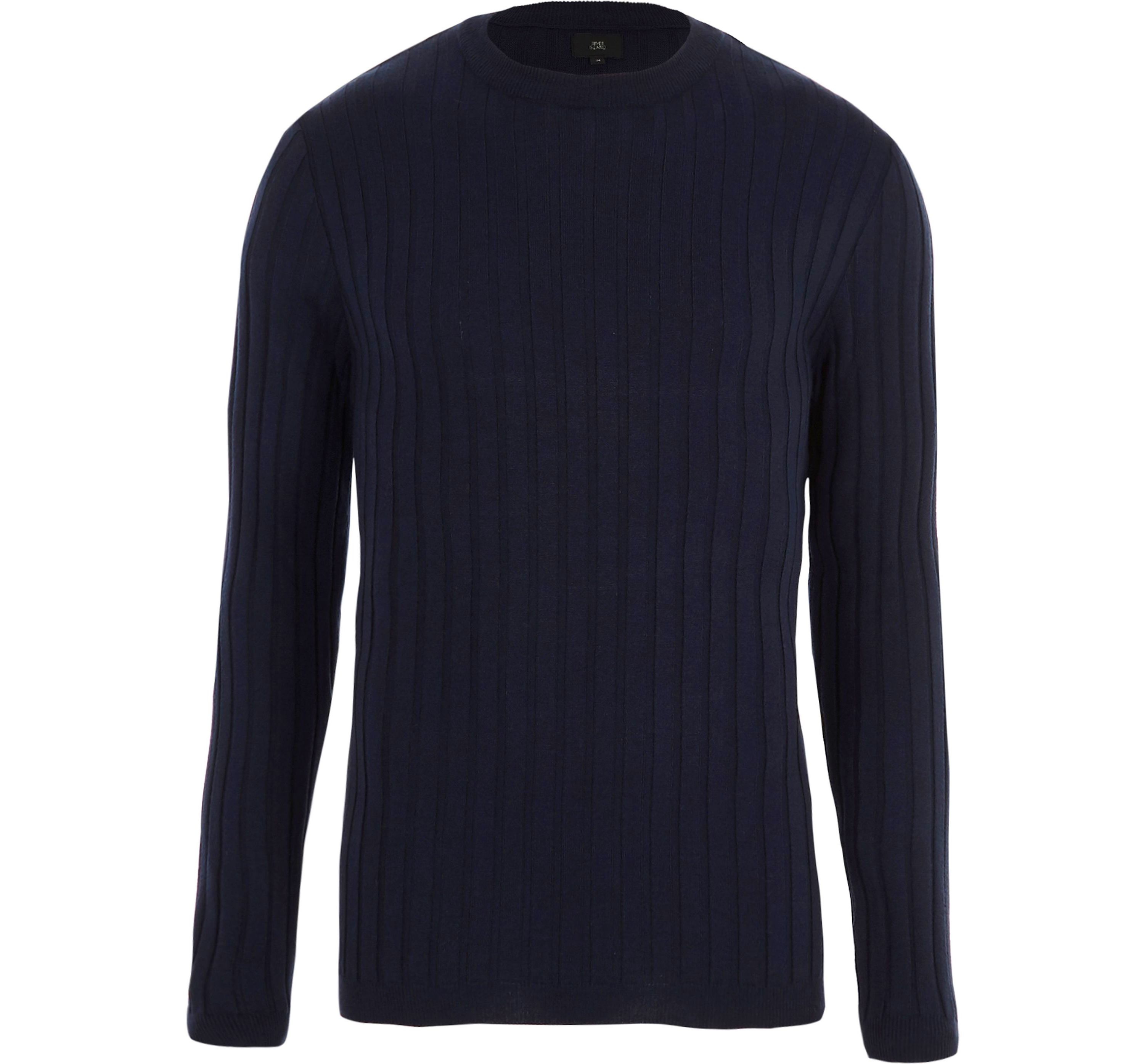 River Island Mens Blue rib muscle fit crew neck jumper