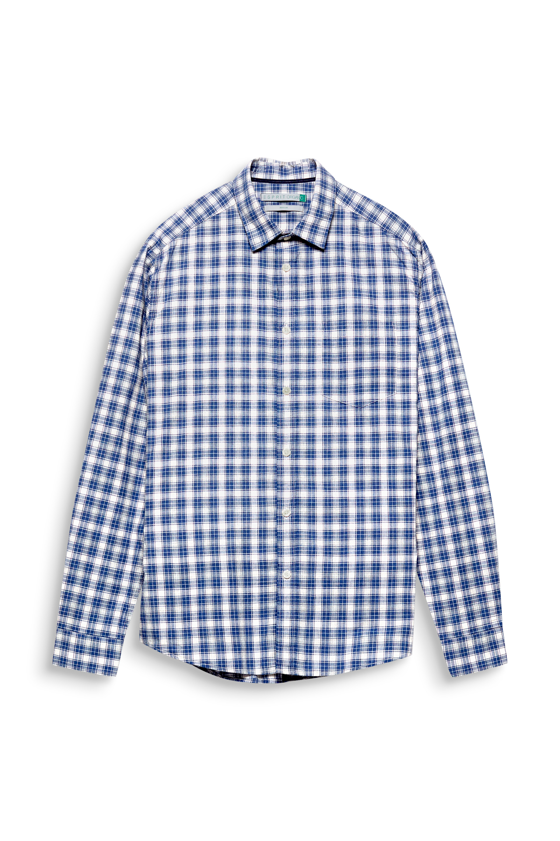 Esprit BLUE 430 Long Sleeve Check Shirt In Organic Cotton