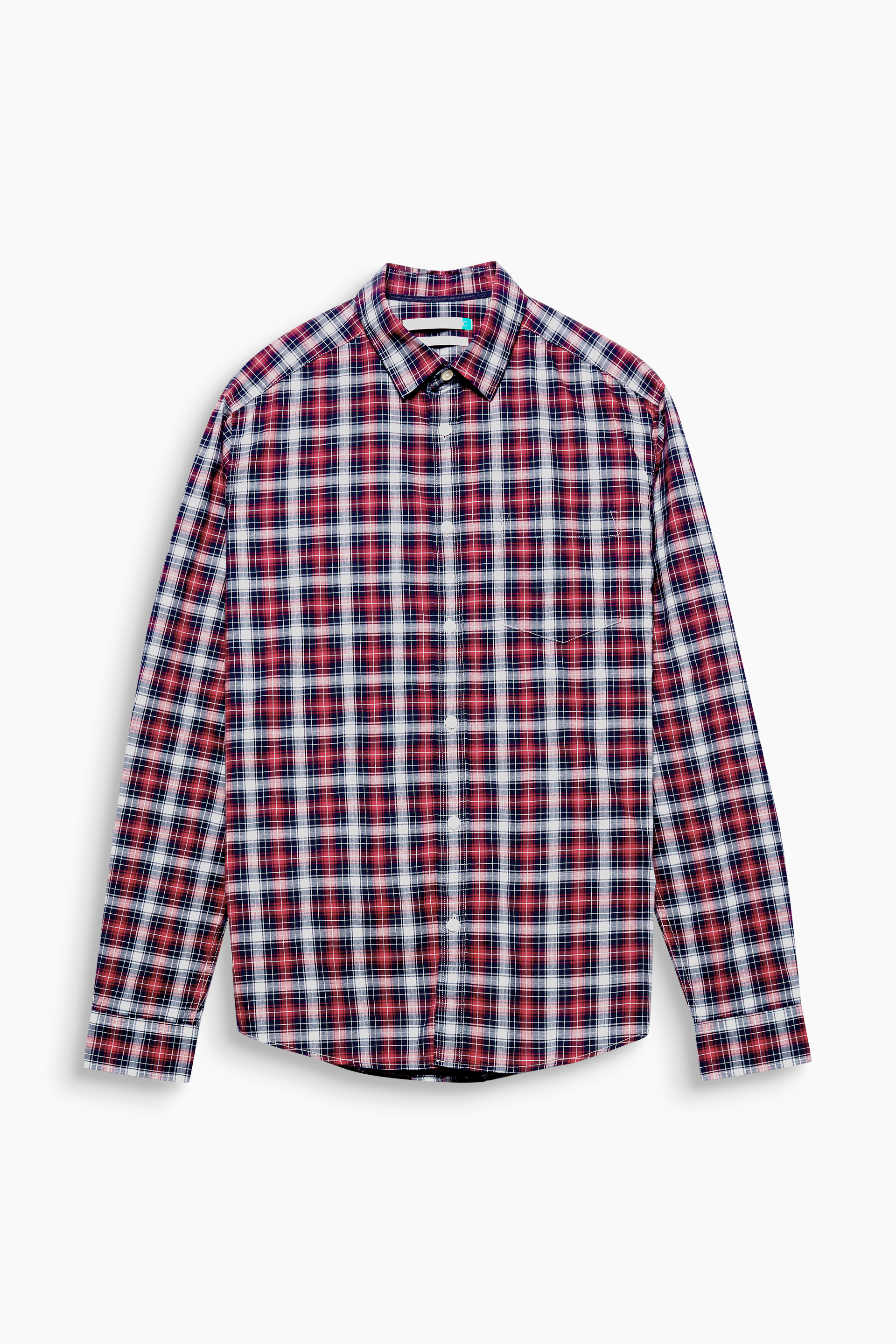 Esprit RED 631 Long Sleeve Check Shirt In Organic Cotton