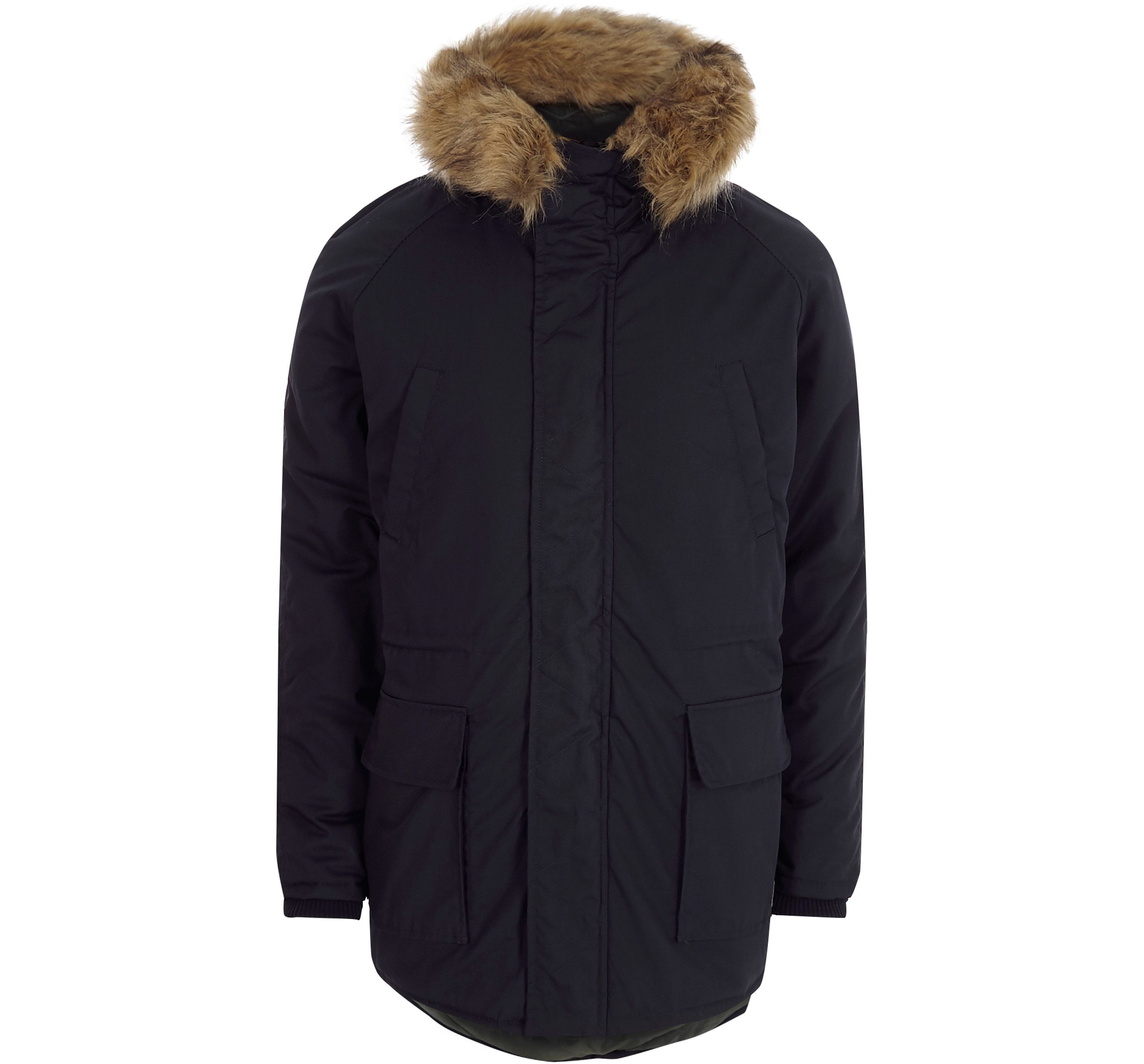River Island Mens Navy Only and Sons faux fur trim parka