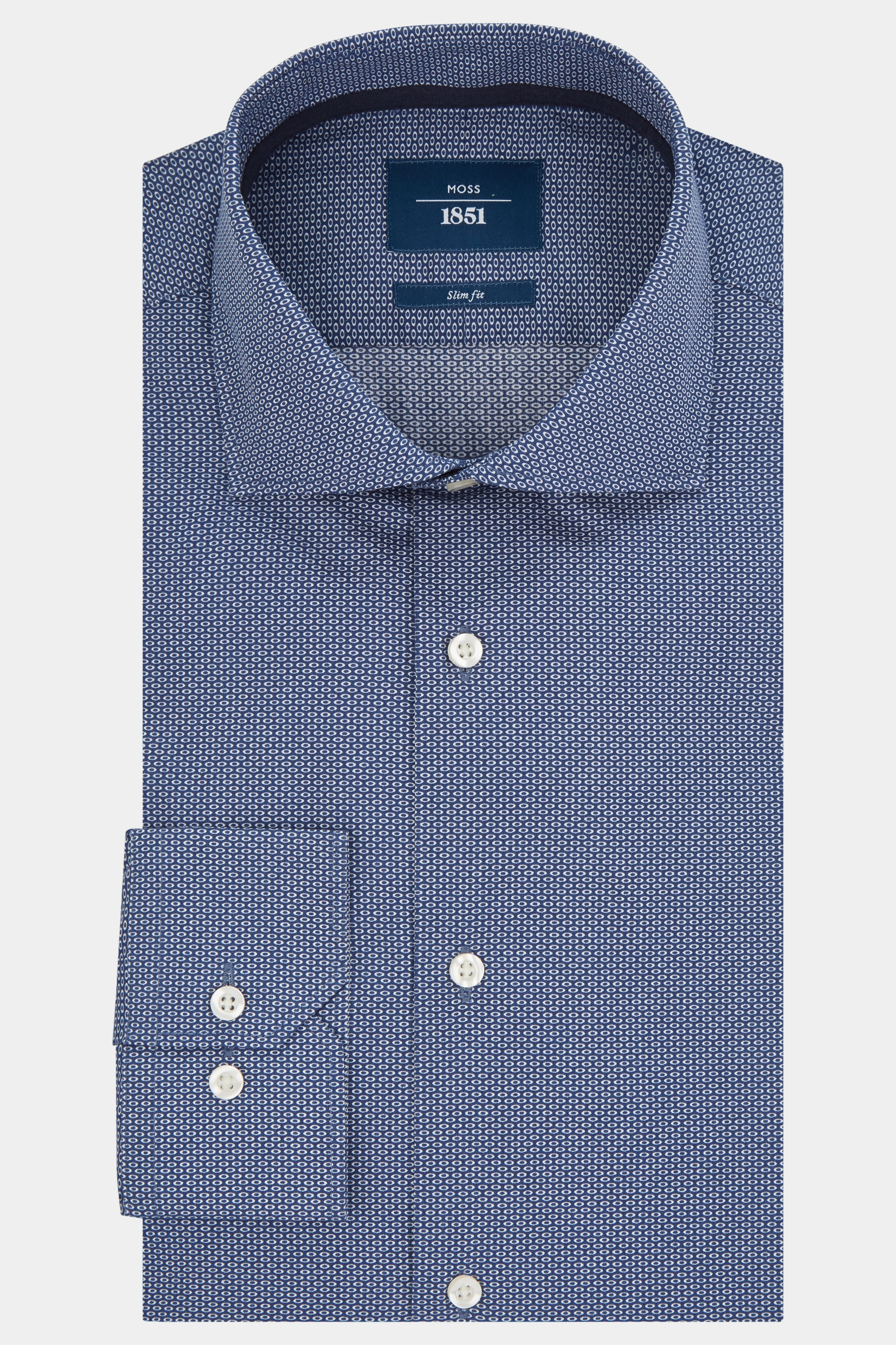 Moss Bros Moss 1851 Slim Fit Navy Single Cuff Oval Print Shirt