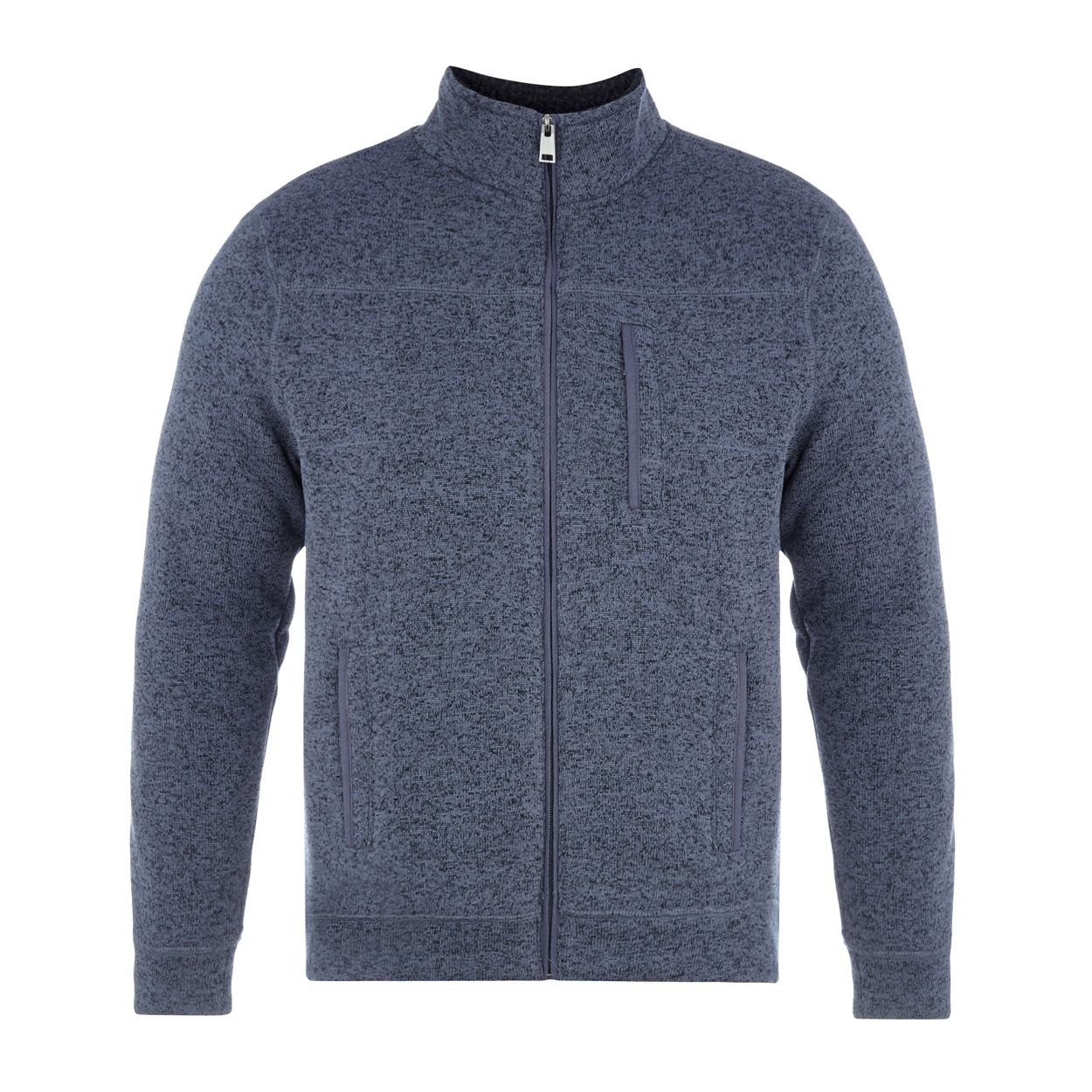 Maine New England Blue knit-look Borg lined zip through jacket