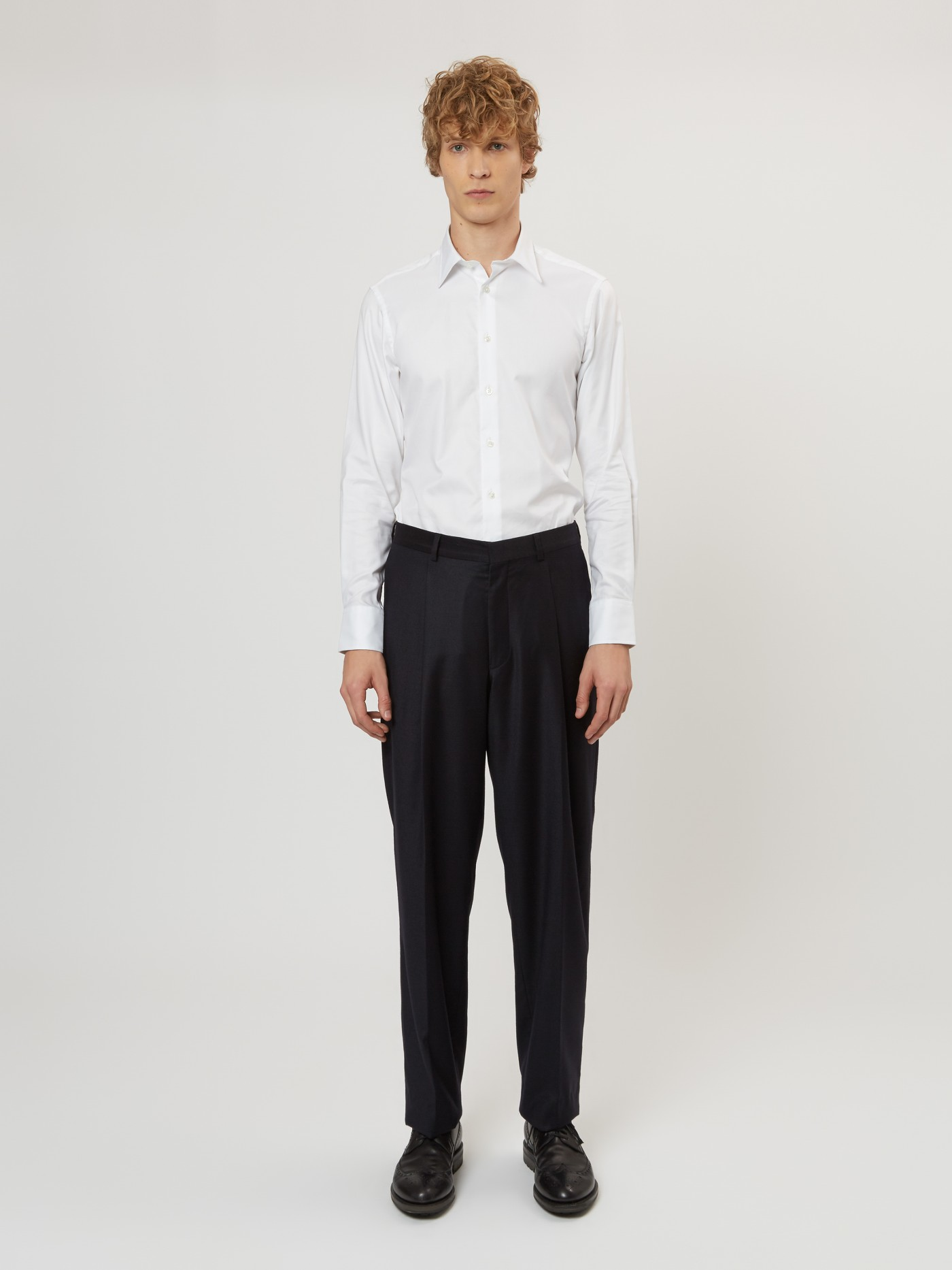 E. Tautz Navy Flannel Pleated Trouser
