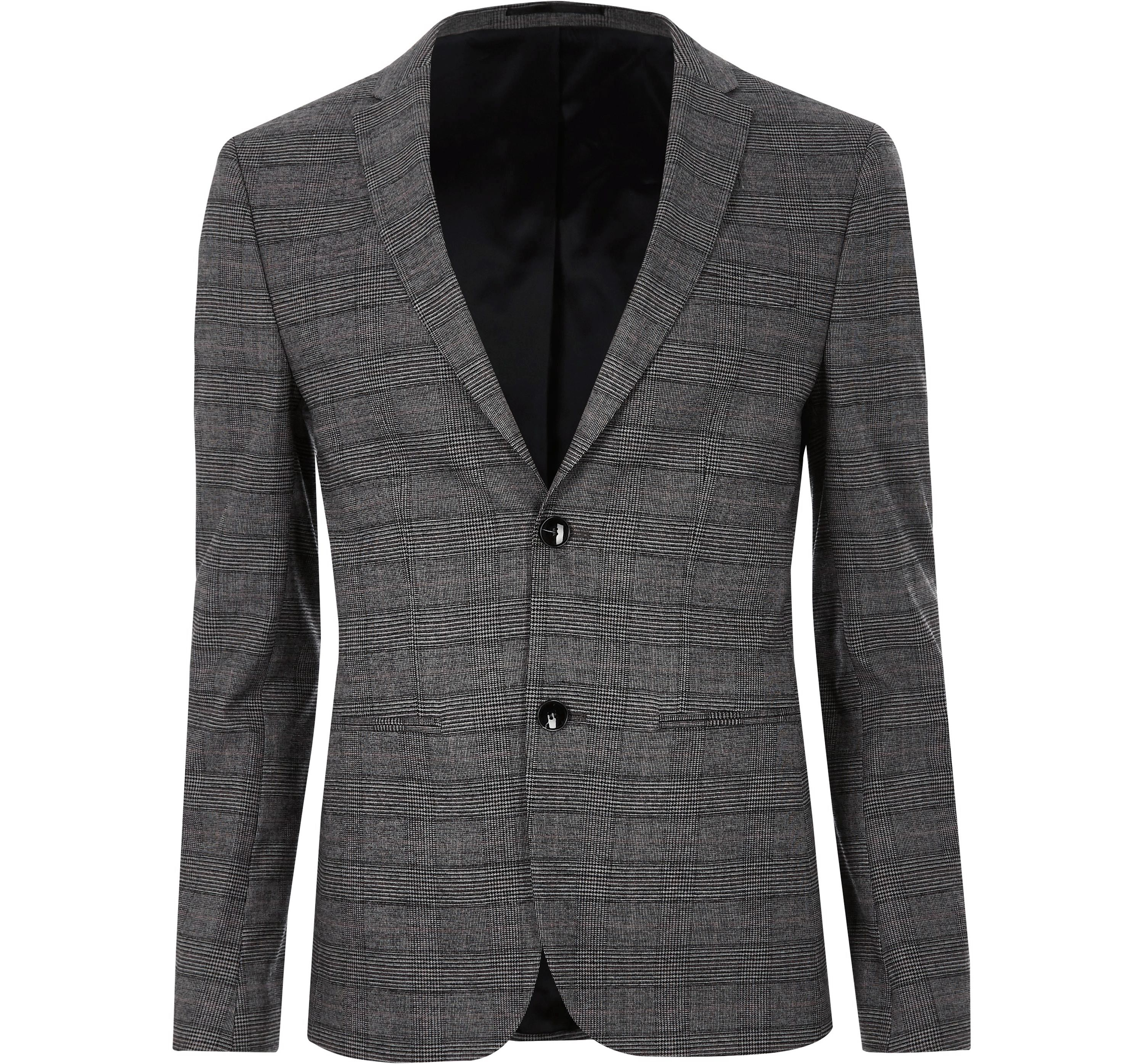 River Island Mens Brown check ultra skinny suit jacket