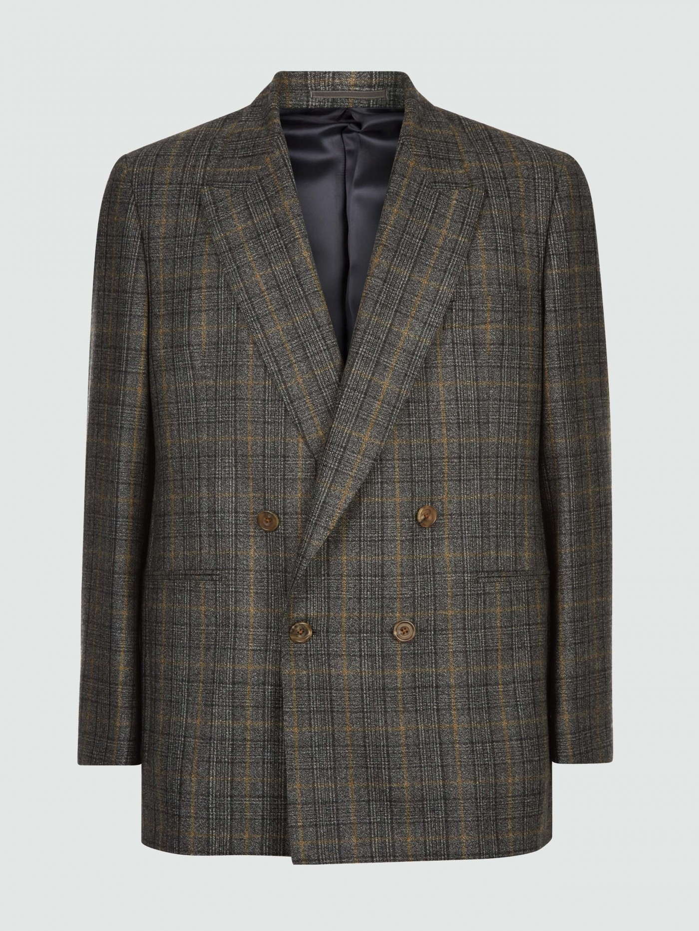 E. Tautz Charcoal Glen Plaid Check Double Breasted Jacket