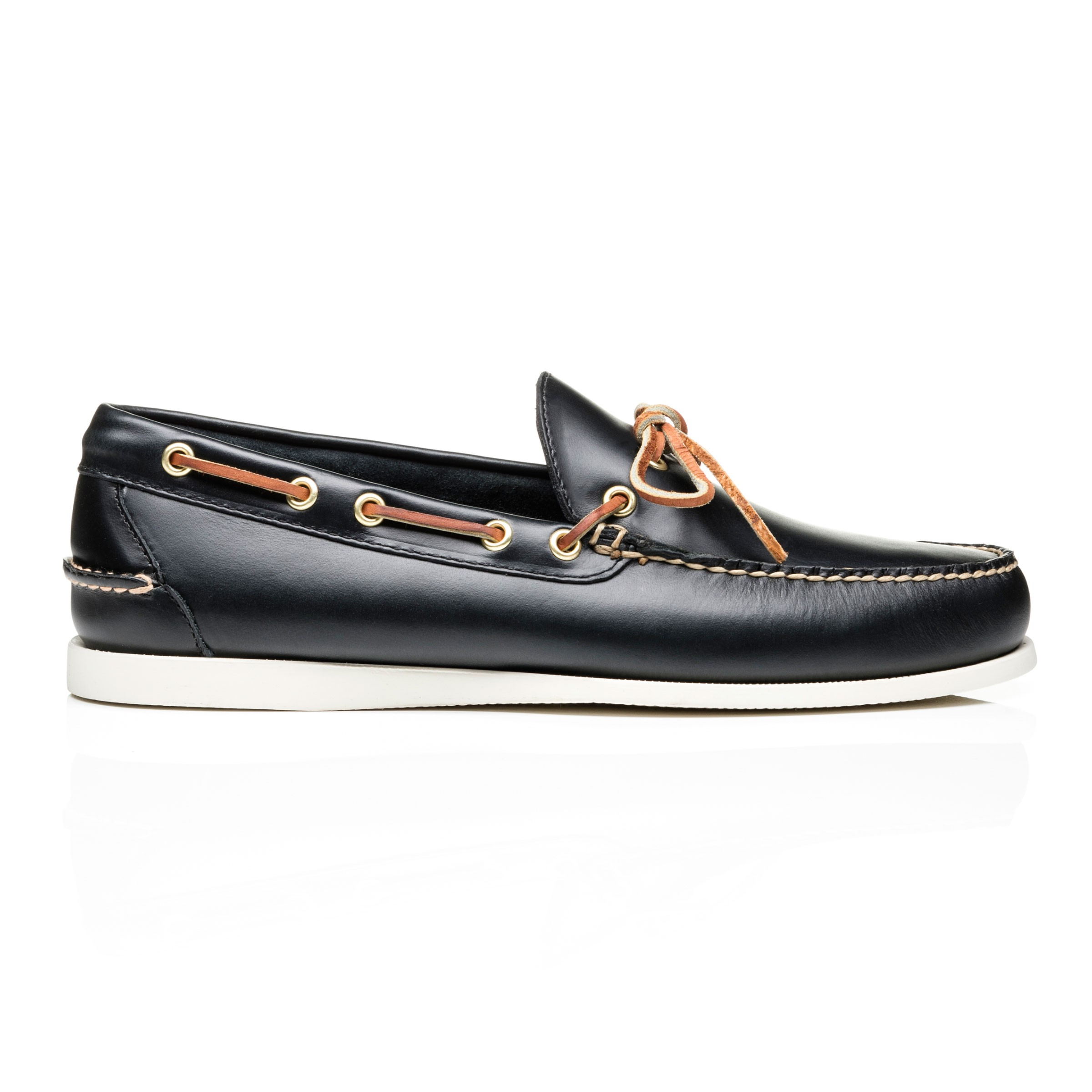G.H. Bass & Co. Navy Leather Camp Moc Decker Pull Up  Leather Navy