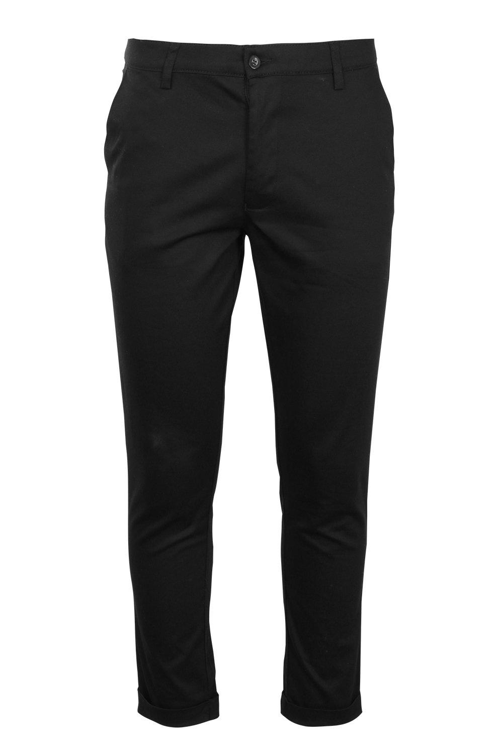 boohooMAN Black Tapered Fit Chino With Stretch