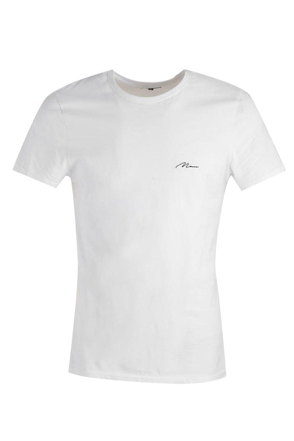 boohooMAN white Man Script Embroidered Muscle Fit T-Shirt